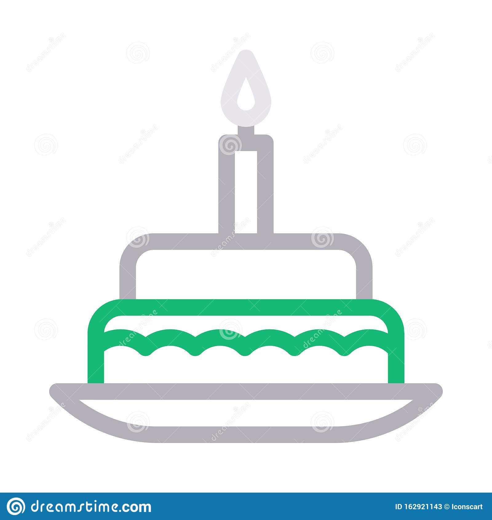 Magnificent Birthday Cake Food Cream Pack Vector Color Line Icon Stock Vector Personalised Birthday Cards Xaembasilily Jamesorg