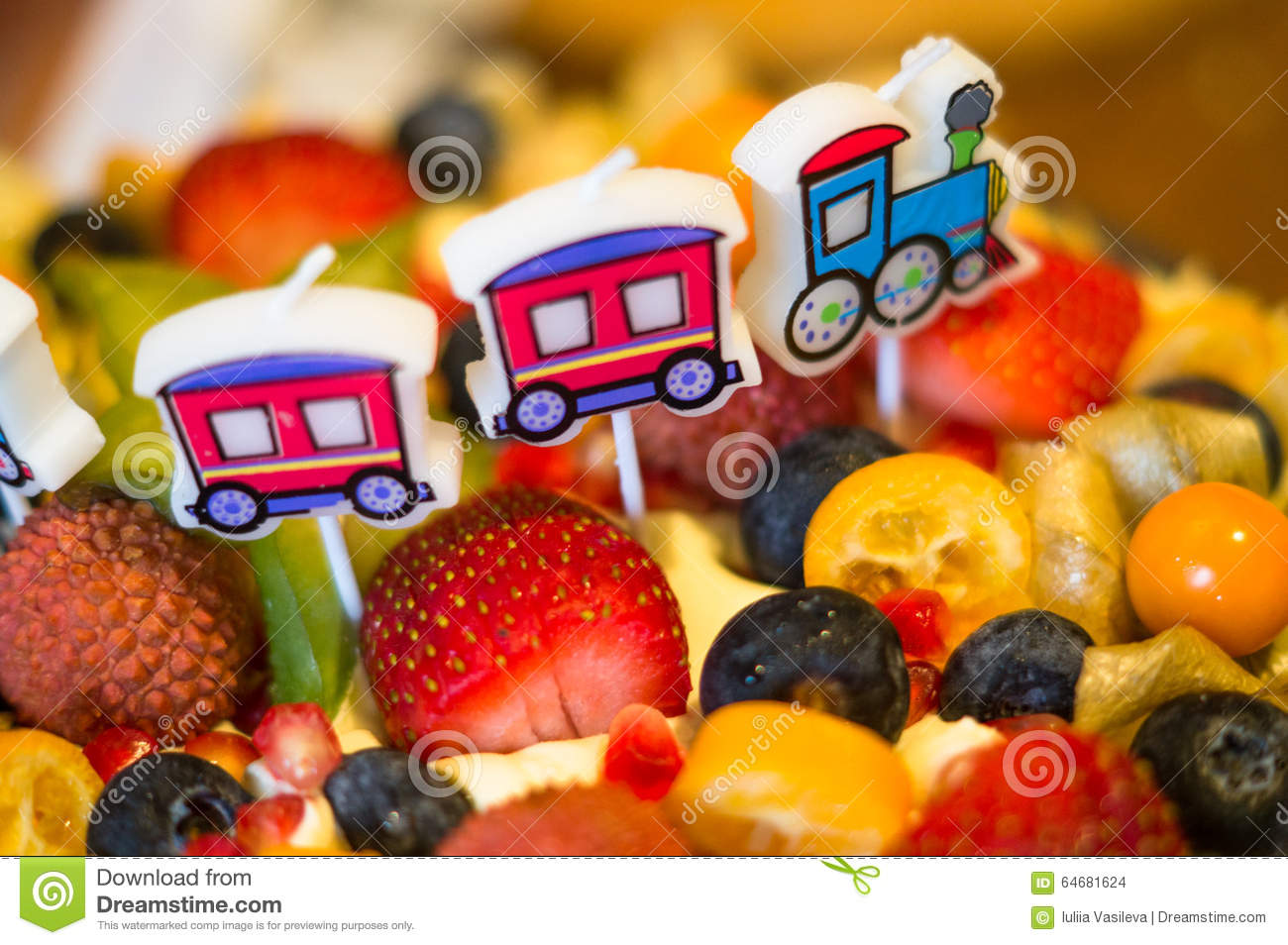 Birthday Cake With Fresh Fruit And Berries Stock Photo Image Of
