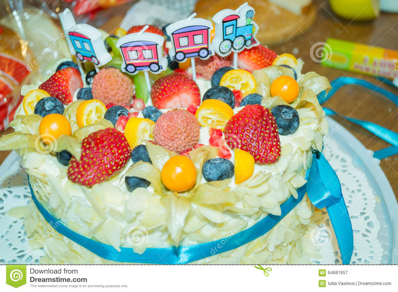 Birthday Cake With Fresh Fruit And Berries Stock Image Image Of