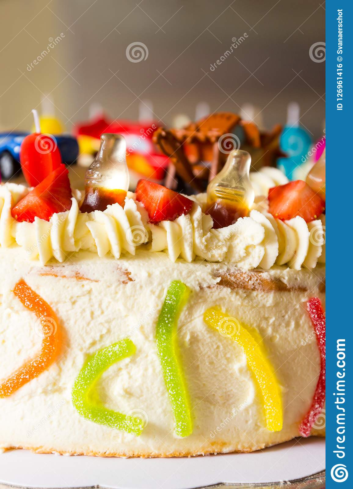 Magnificent Birthday Cake With Fruit And Candy Stock Photo Image Of Made Personalised Birthday Cards Veneteletsinfo