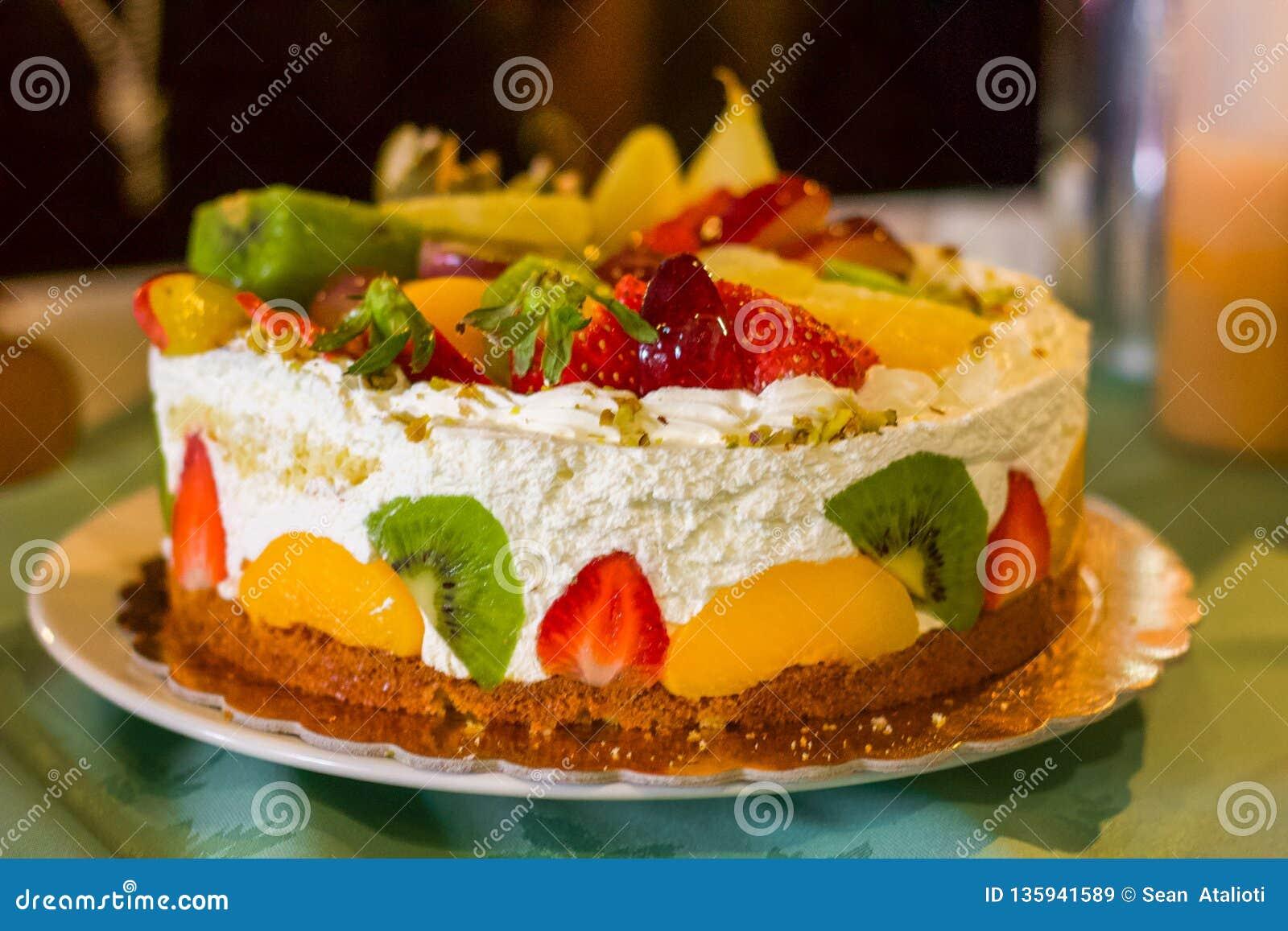 Sensational Birthday Cake Full Of Fresh Cream And Fruit Stock Image Image Of Funny Birthday Cards Online Fluifree Goldxyz