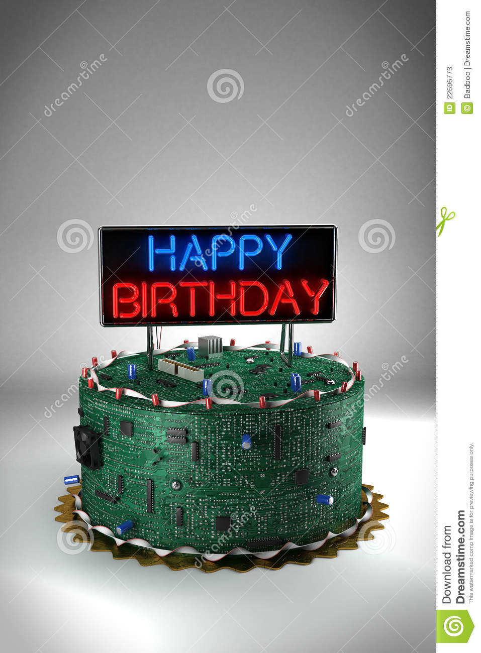 Birthday Cake For Geeks Stock Illustration Illustration Of Computer