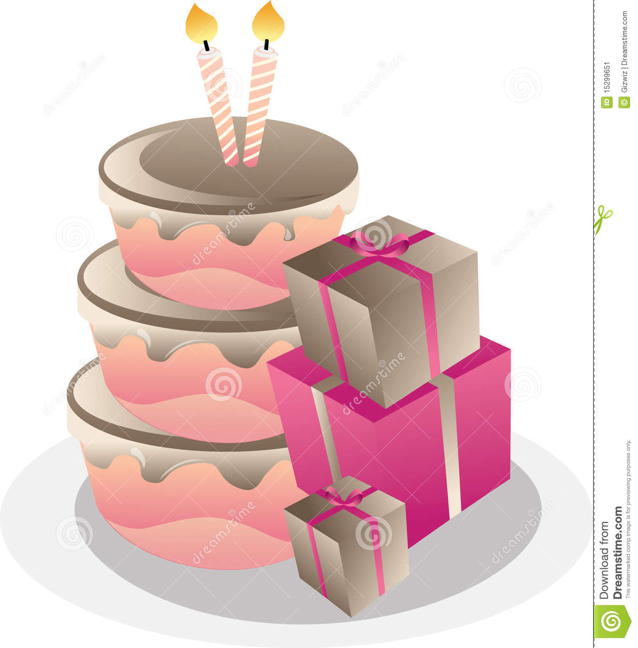 Birthday cake and gift boxes stock vector illustration of icing birthday cake and gift boxes negle Images