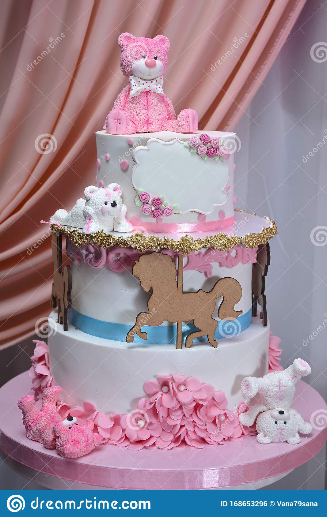 Marvelous Birthday Cake For Girl With Bears On Top Stock Photo Image Of Birthday Cards Printable Giouspongecafe Filternl