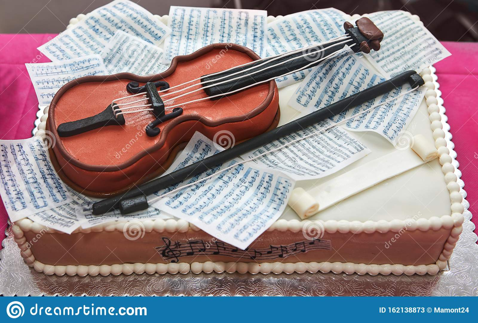 Prime Birthday Cake For A Girl With A Violin And Notes Musical Concept Funny Birthday Cards Online Alyptdamsfinfo
