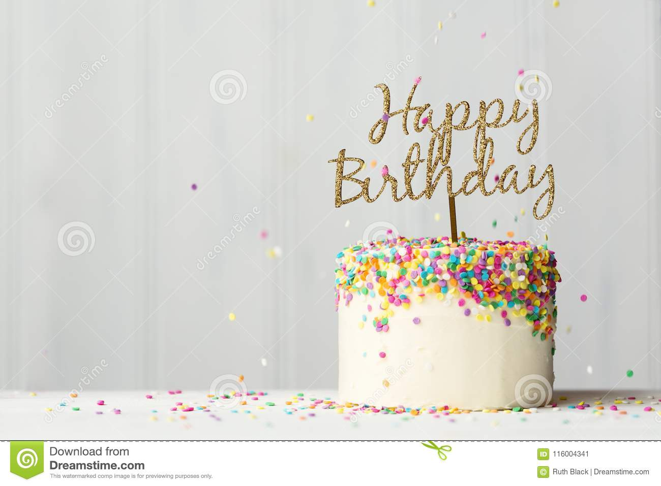 Birthday Cake With Gold Banner Stock Image Image Of Confetti Frosting 116004341