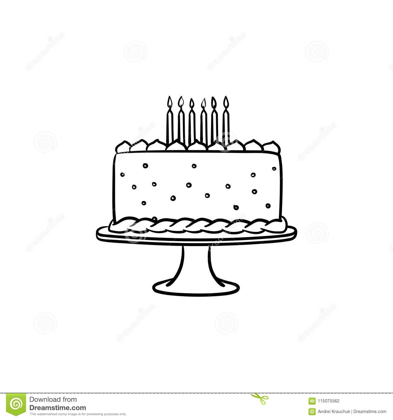 Birthday Cake Hand Drawn Sketch Icon Stock Vector Illustration Of