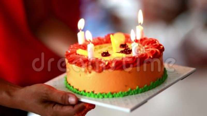 Birthday Cake In Hand Light Up Stock Footage