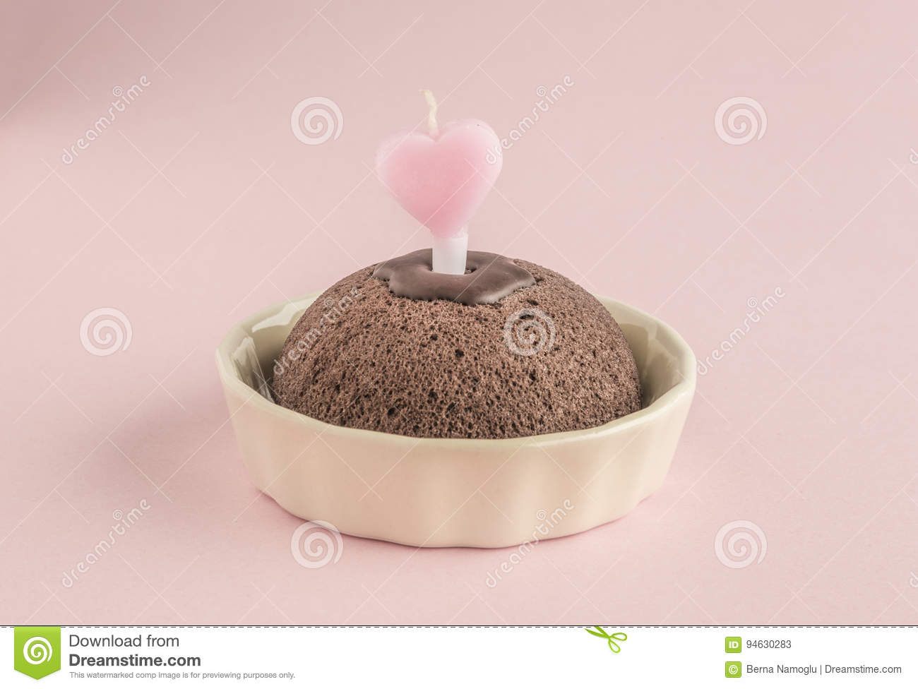 Birthday Cake With Heart Shaped Candle On Pink Stock Image Image