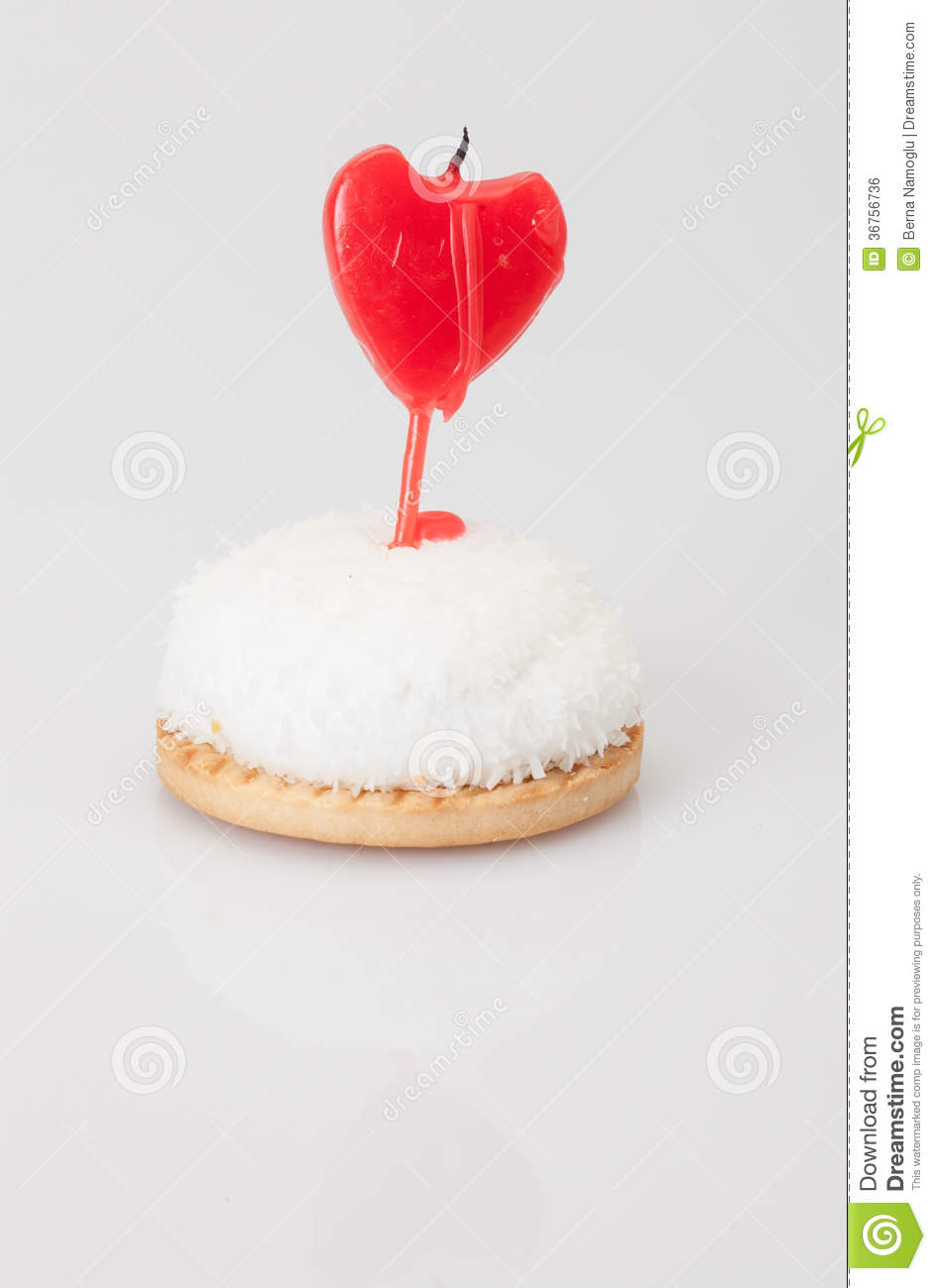 Heart Shaped Cake Stock Photos : Birthday Cake With Heart Shaped Candle Stock Photo - Image ...