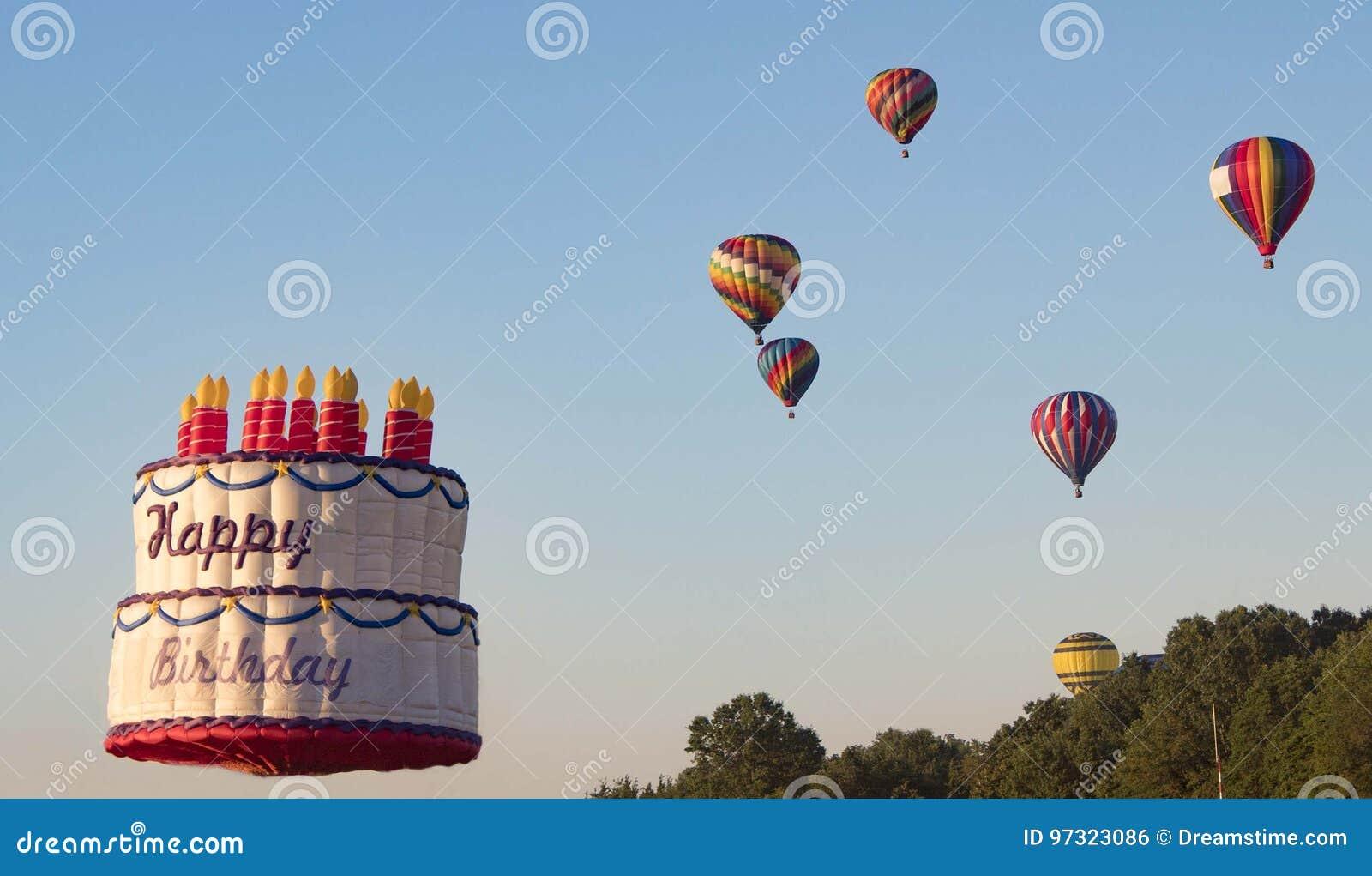 Terrific Birthday Cake Hot Air Balloon Stock Photo Image Of Colorful Funny Birthday Cards Online Necthendildamsfinfo