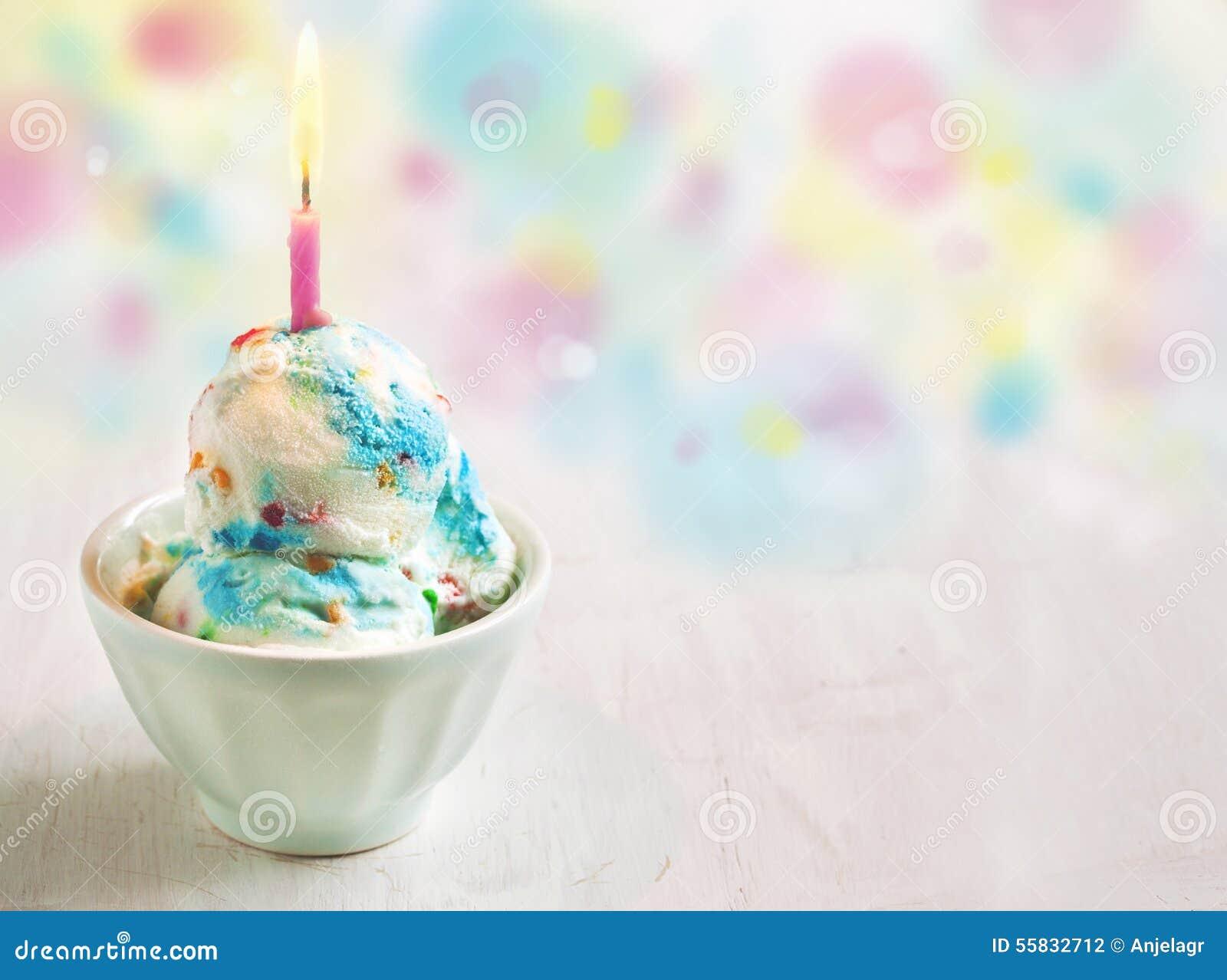 Pleasing Birthday Cake Ice Cream Decorated With Candle Stock Photo Image Personalised Birthday Cards Veneteletsinfo
