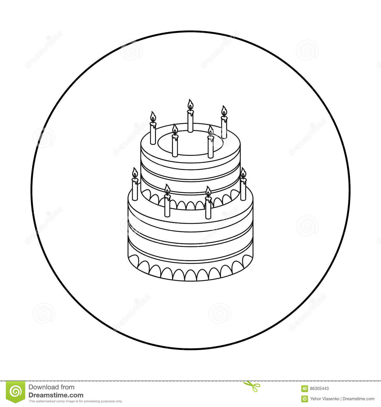 Birthday Cake Icon In Outline Style Isolated On White Background