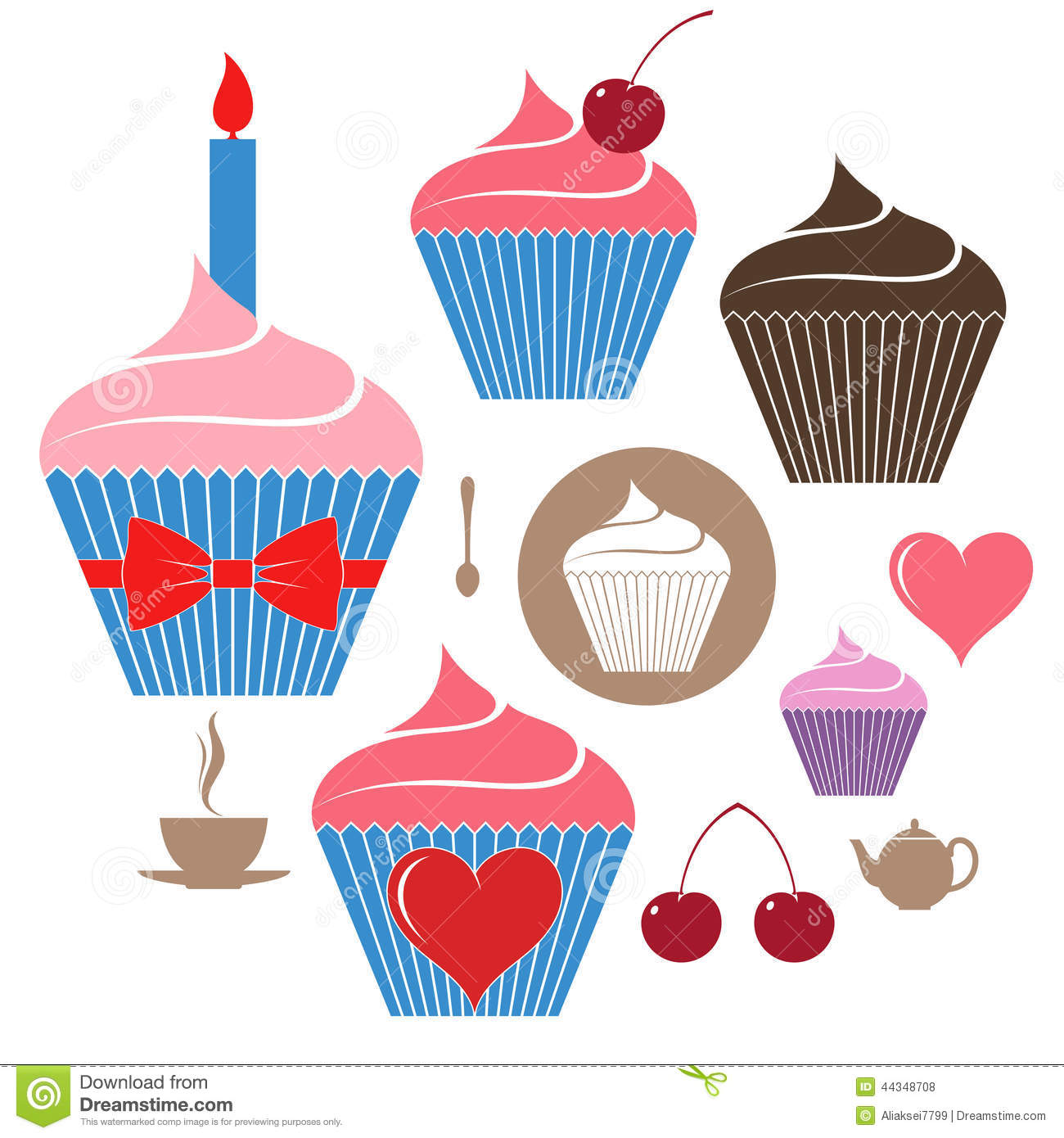 Birthday cake. Icon set. Isolated objects on white background. Vector ...