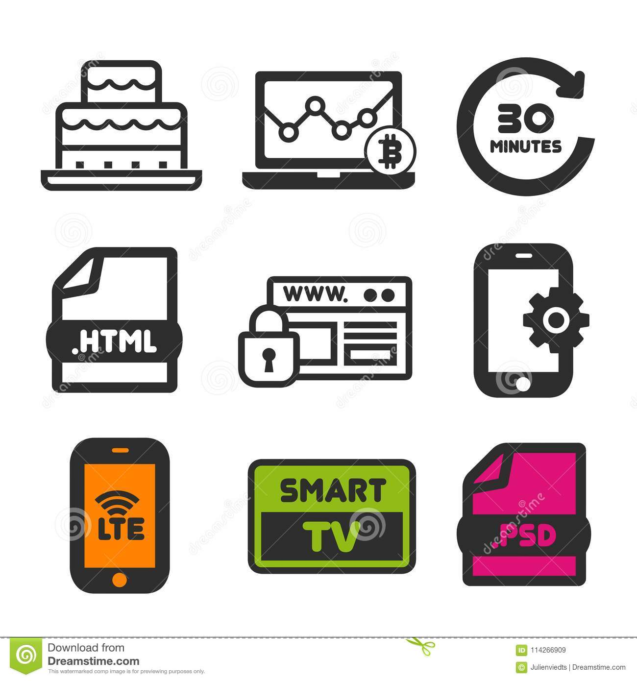 Birthday Cake Icon Smart Tv Symbol Website Security And Smartphone