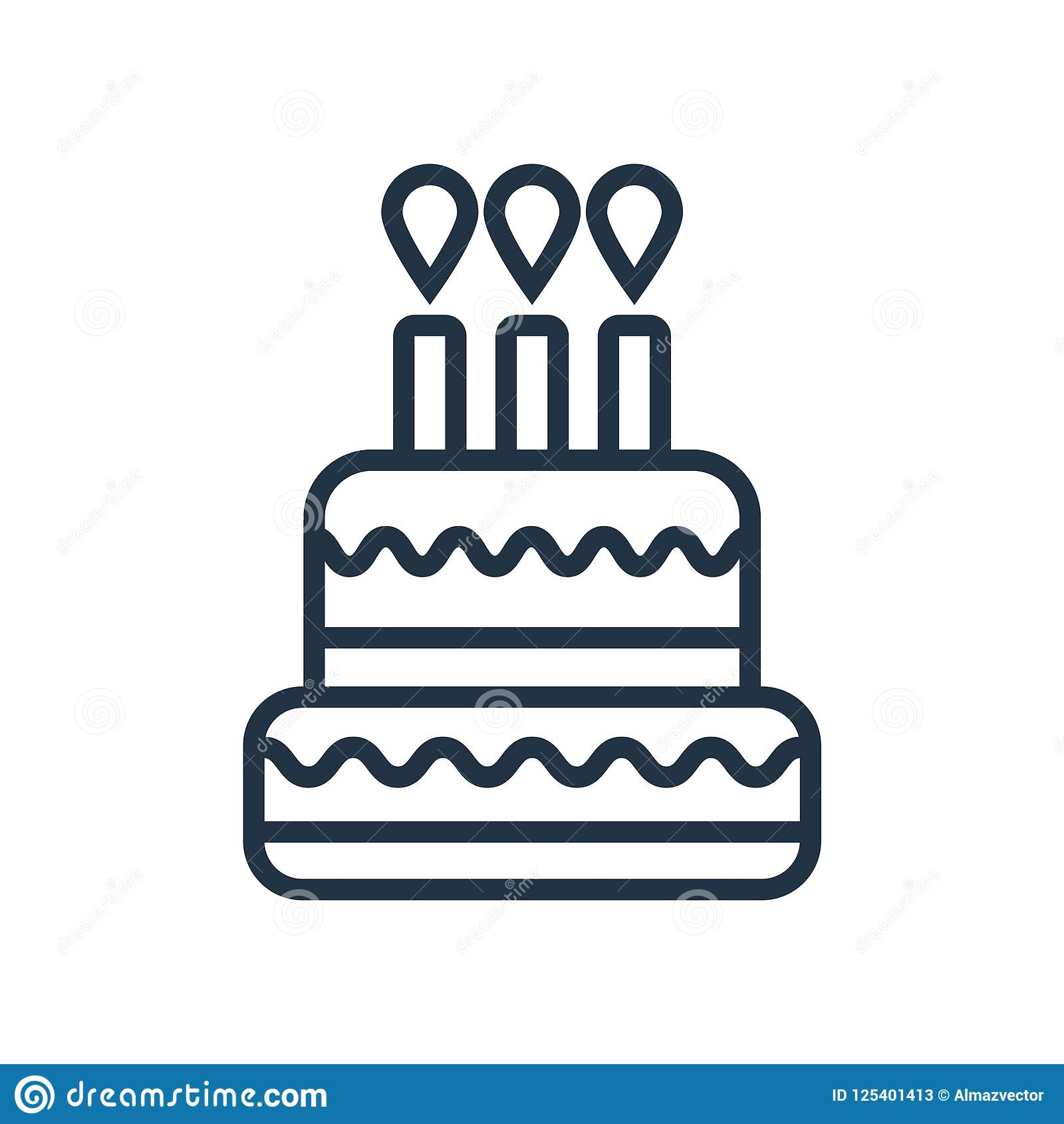Birthday Cake Icon Vector Isolated On White Background Birthday