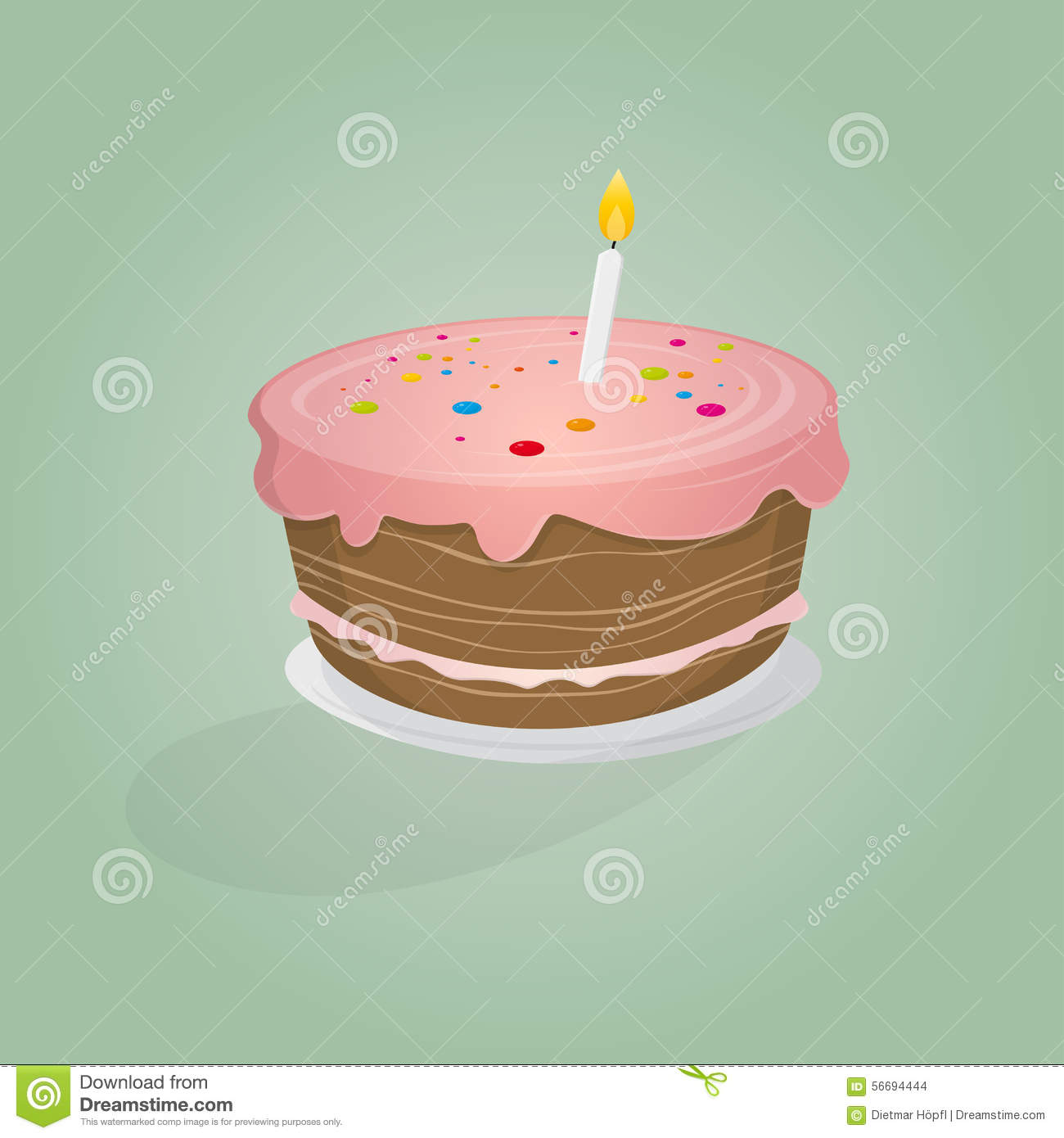 Birthday Cake Illustration Stock Vector - Image: 56694444