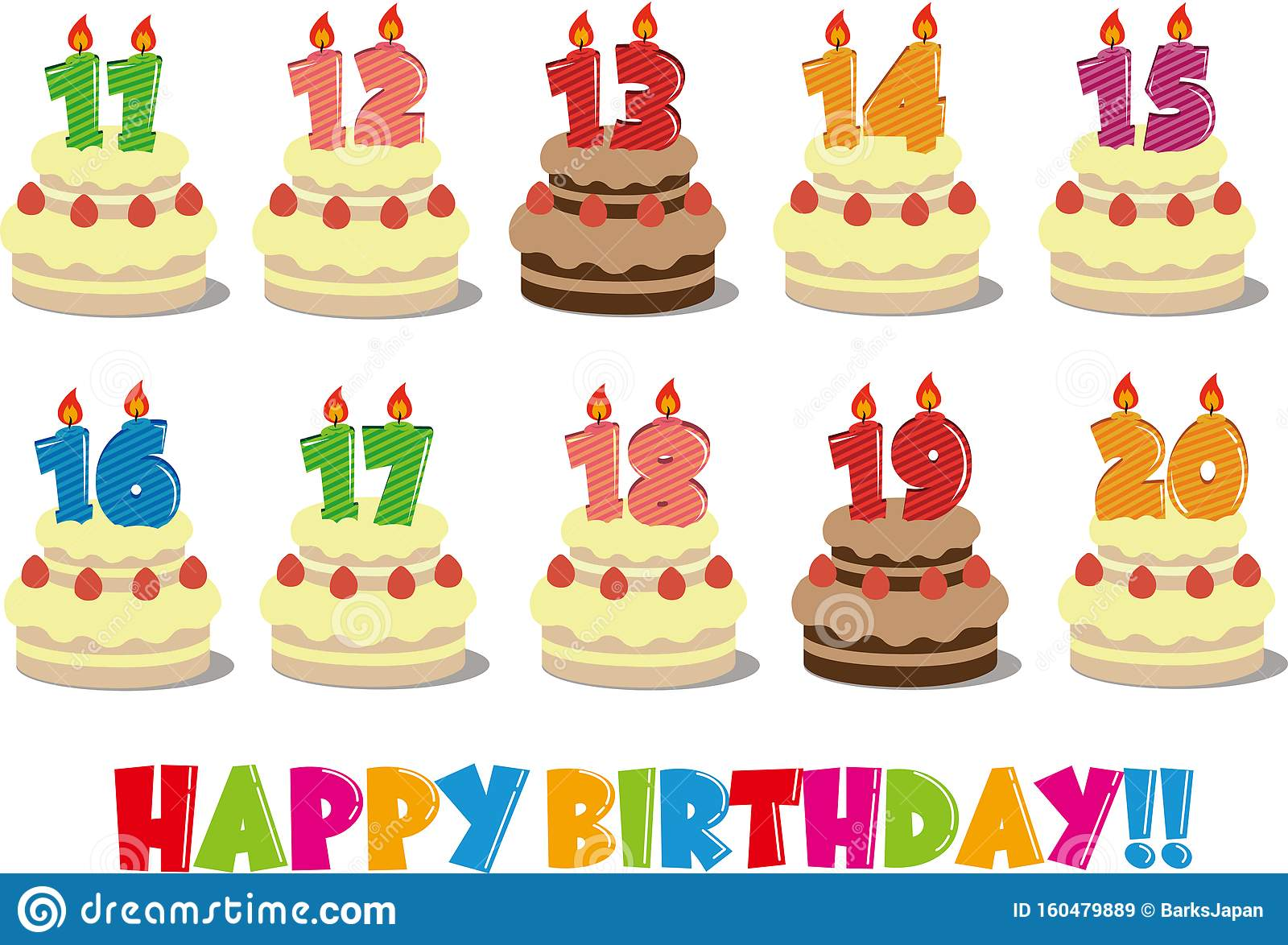 Tremendous Birthday Cake Illustration Set From 11 Years Old To 20 Years Old Funny Birthday Cards Online Elaedamsfinfo