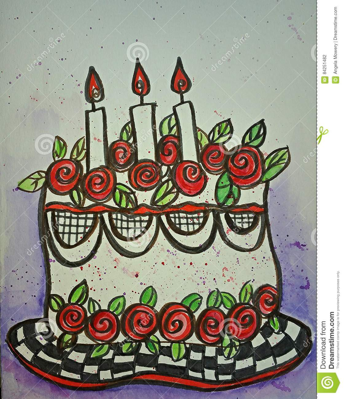 Sensational Birthday Cake Illustration Stock Illustration Illustration Of Personalised Birthday Cards Veneteletsinfo