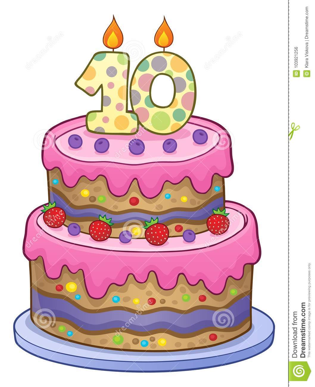 Birthday Cake Image For 10 Years Old Stock Vector