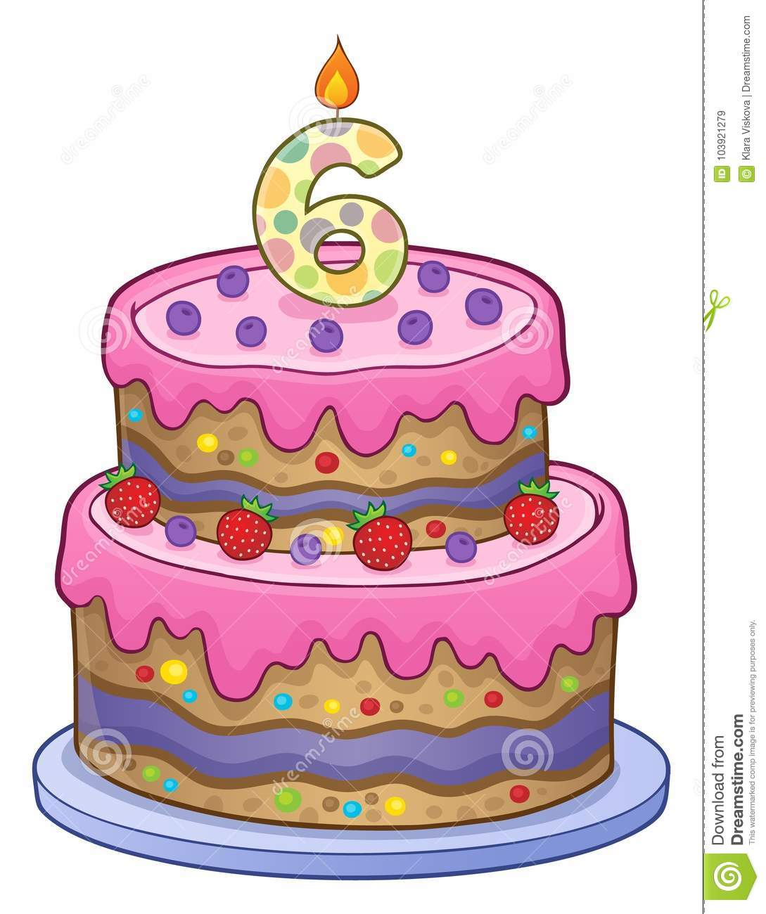 Birthday Cake Image For 6 Years Old Stock Vector Illustration Of