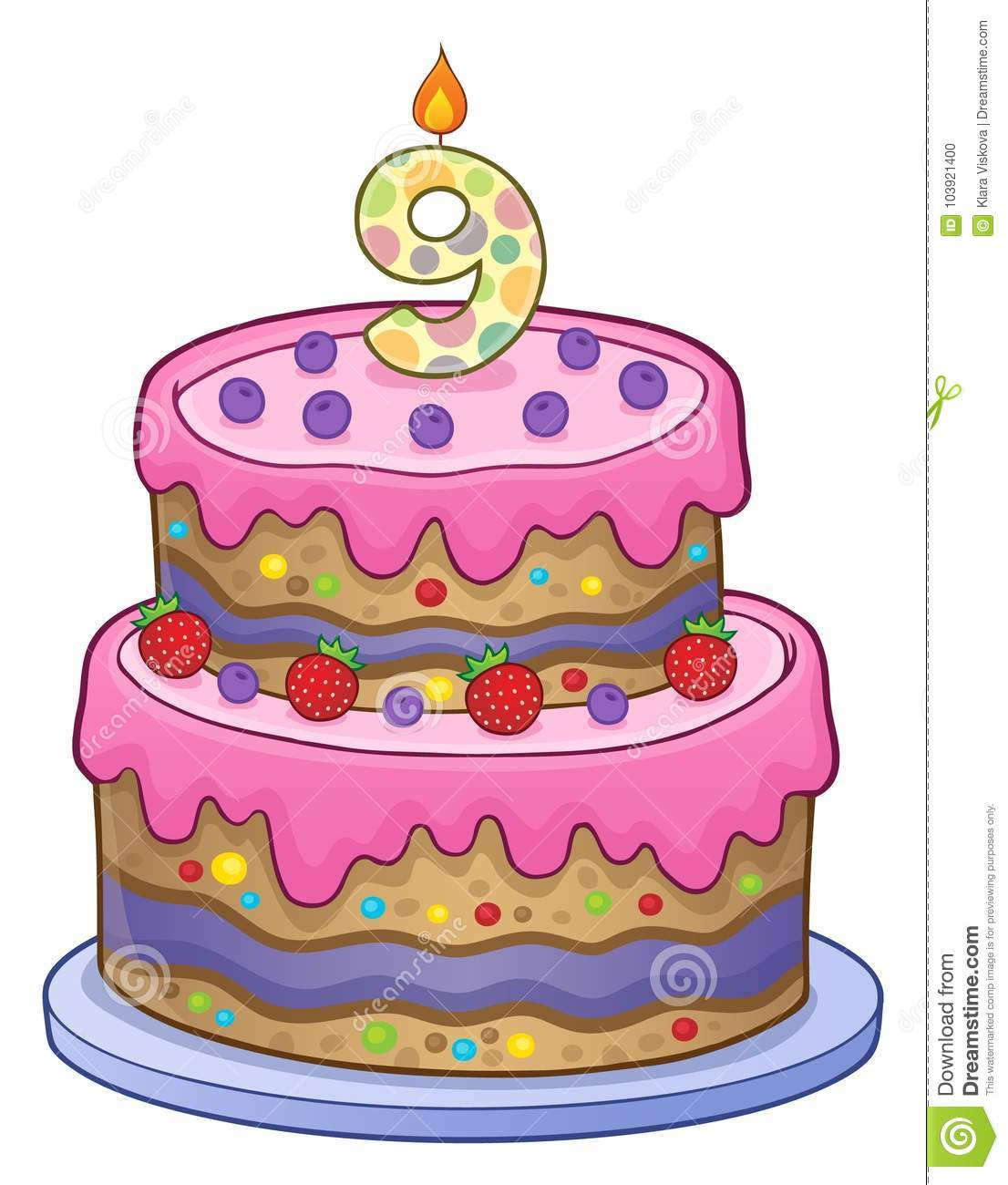 Birthday Cake Image For 9 Years Old Stock Vector Illustration Of