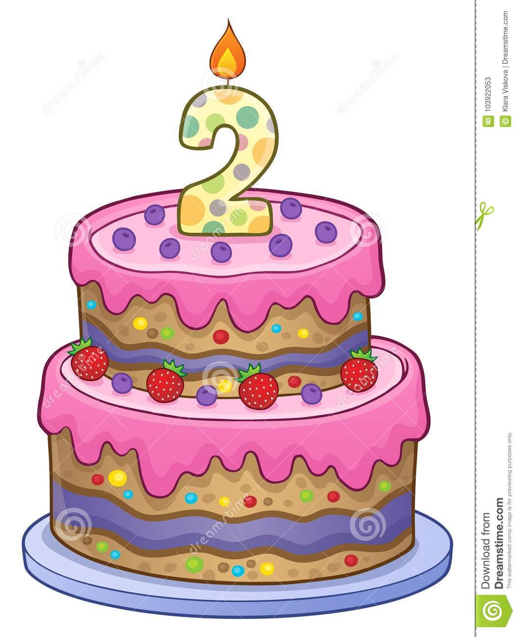 Birthday Cake Image For 2 Years Old Stock Vector