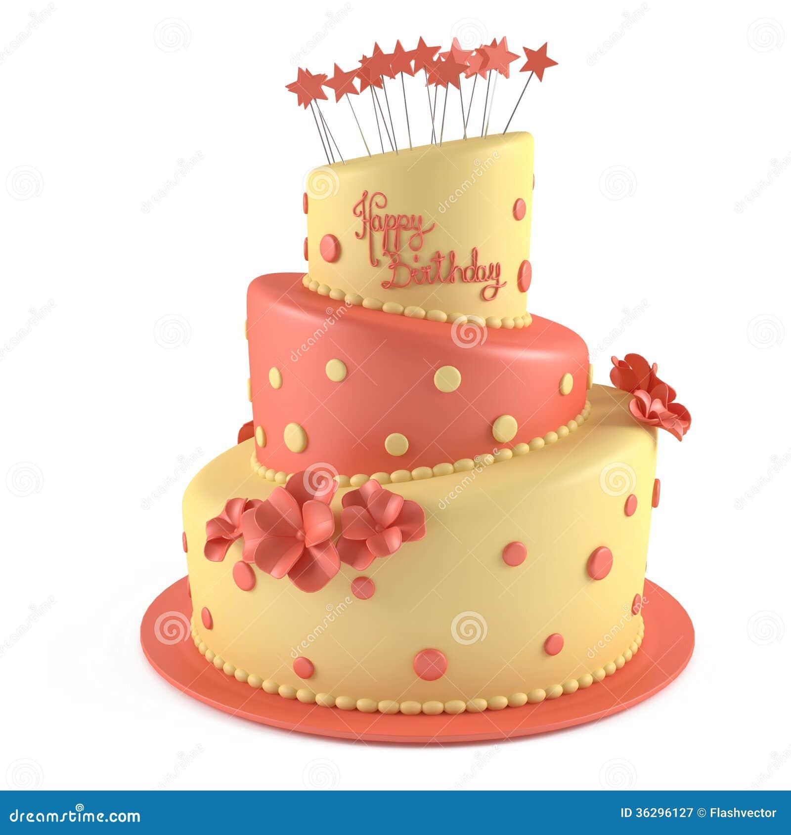 Birthday Cake Isolated Stock Illustration. Image Of Star