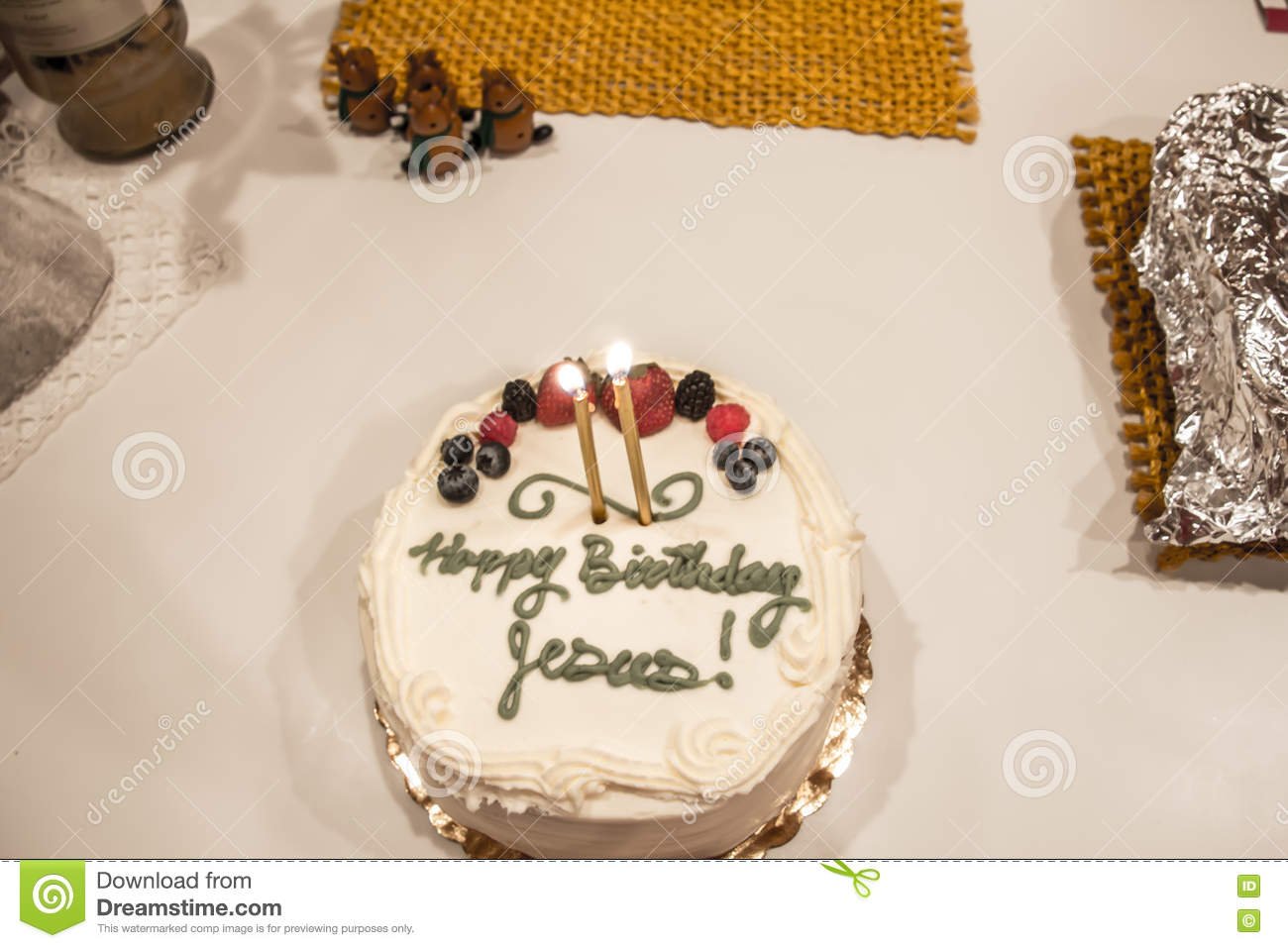 Enjoyable Birthday Cake For Jesus Celebrating Christmas Stock Photo Image Personalised Birthday Cards Veneteletsinfo