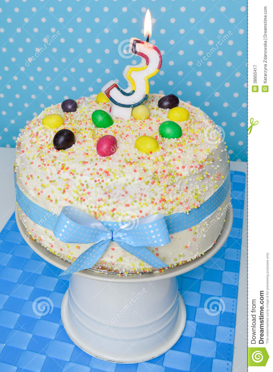 Birthday Cake For Kids Party Stock Image Image Of Layer Blue