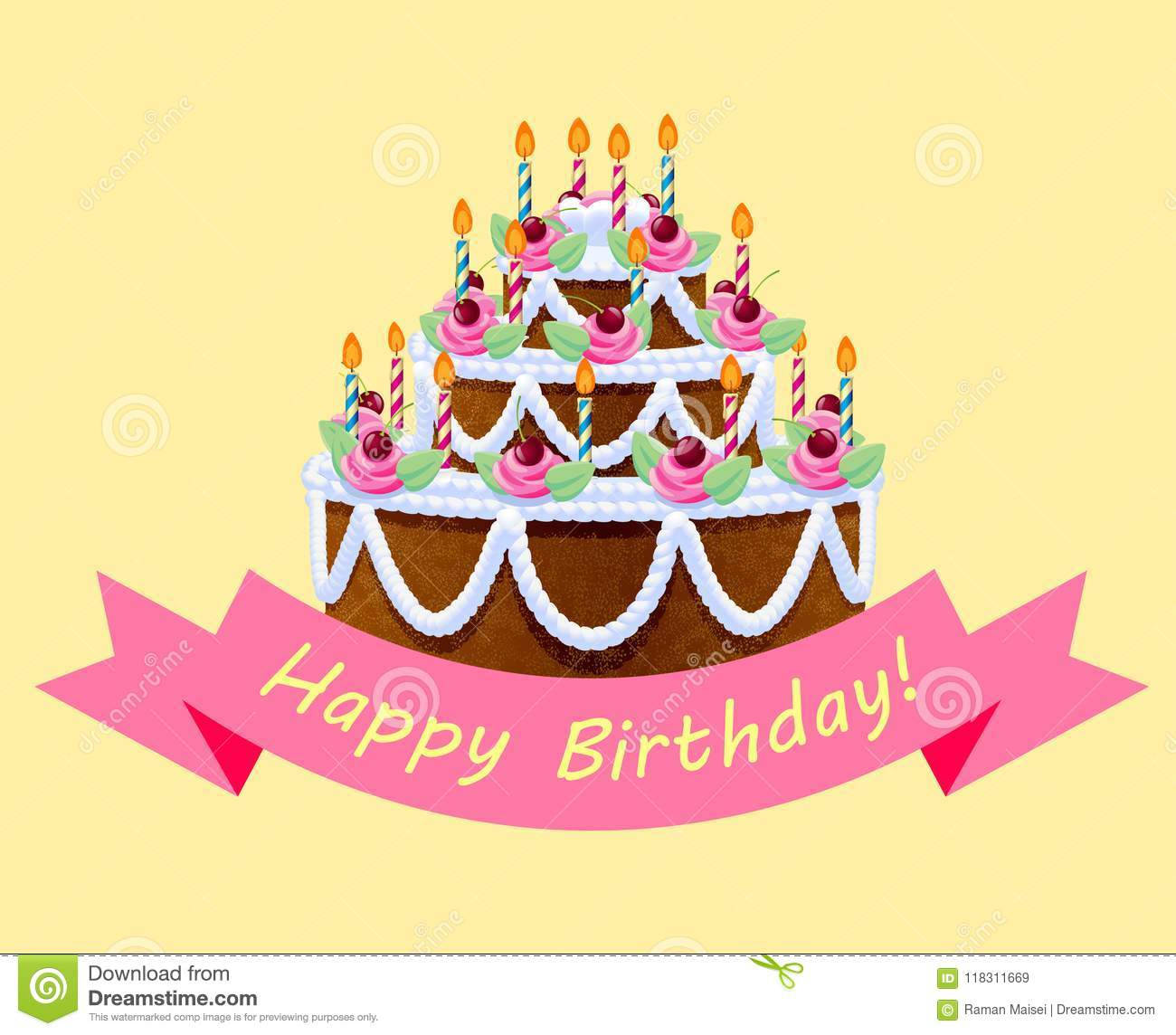 Birthday Cake With Lights And Pink Ribbon On Yellow Background Stock
