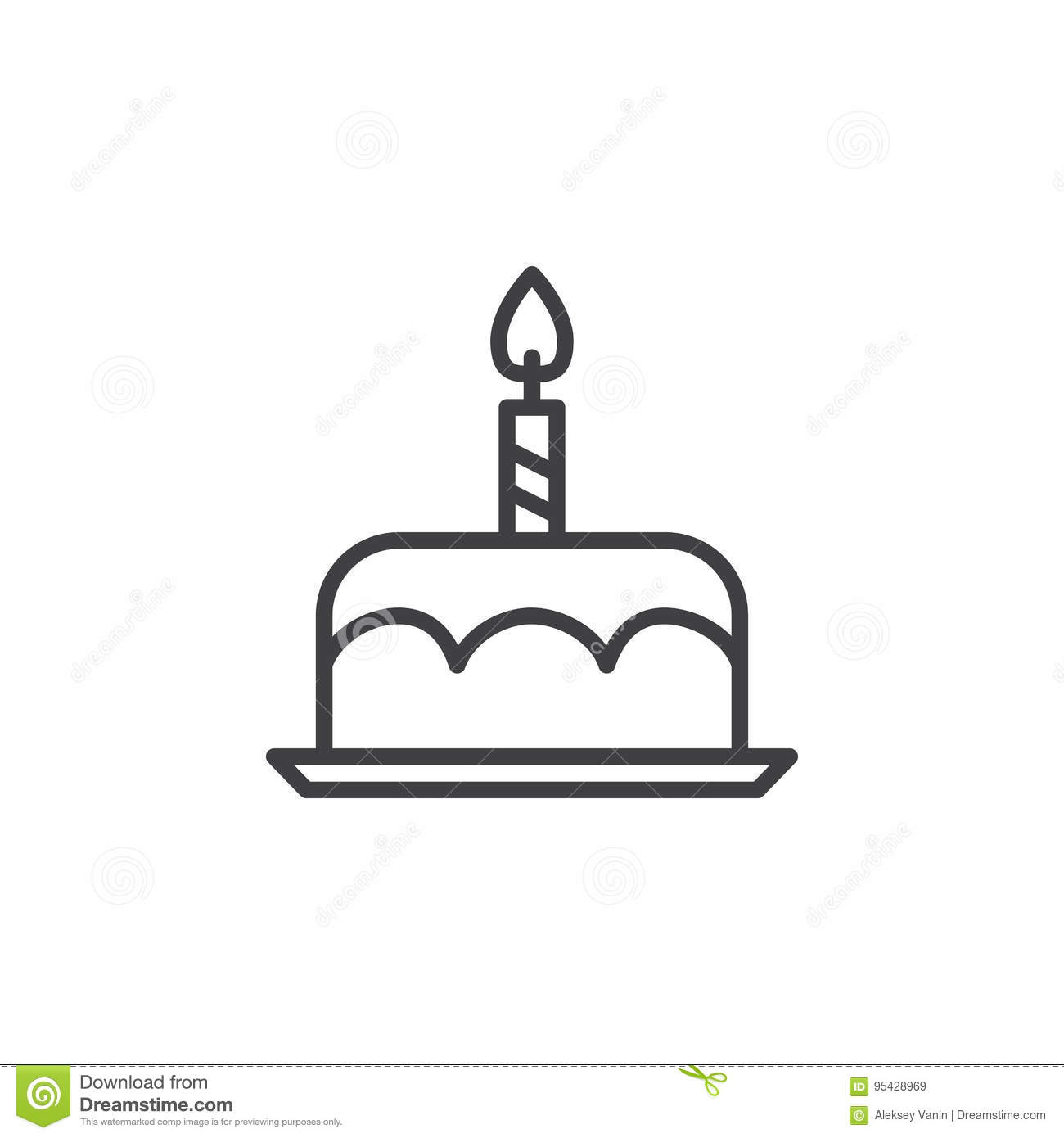 Birthday Cake Line Icon, Outline Vector Sign, Linear