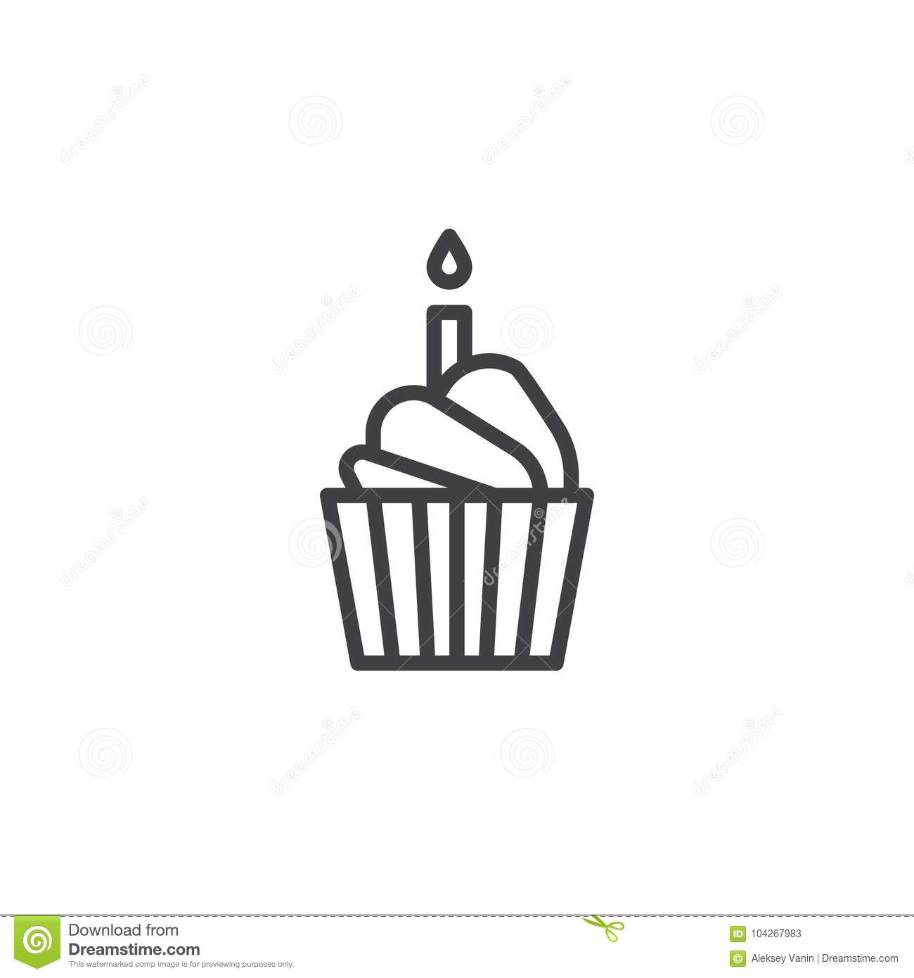 Birthday Cake Line Icon Stock Vector Illustration Of Cupcake
