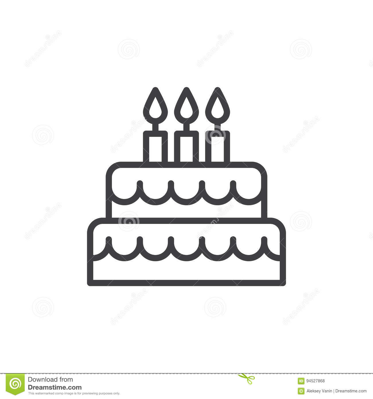 Birthday Cake Line Icon Outline Vector Sign Linear Style