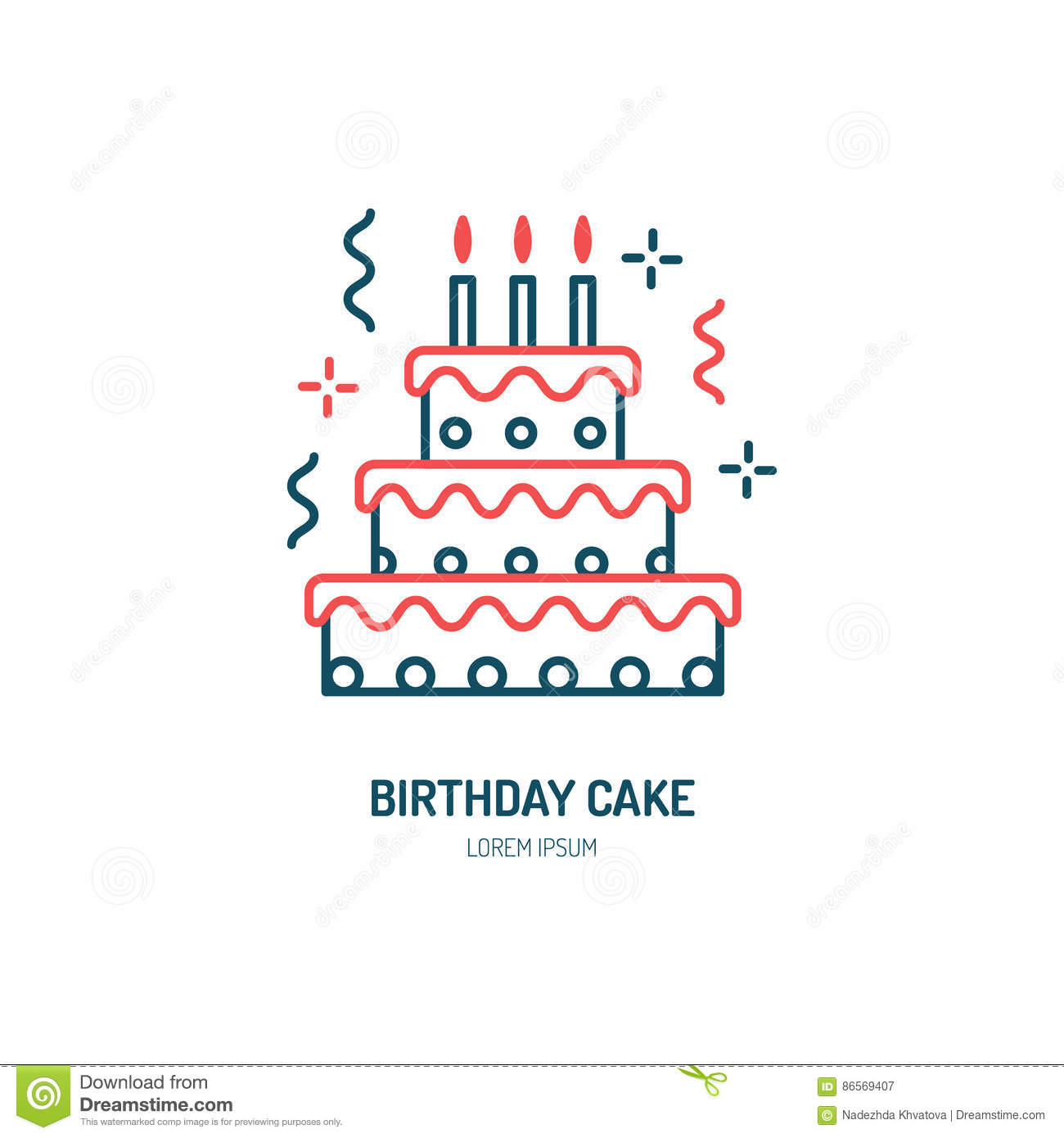 Birthday Cake Line Icon. Vector Logo For Bakery, Party