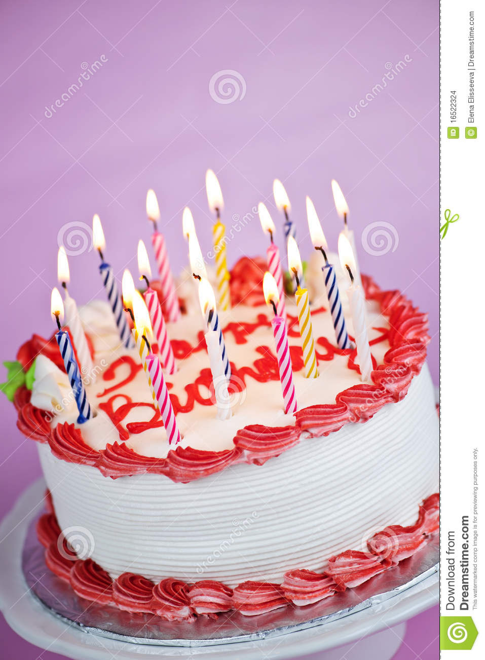 Birthday Cake With Lit Candles Images : Birthday Cake With Lit Candles Stock Images - Image: 16522324
