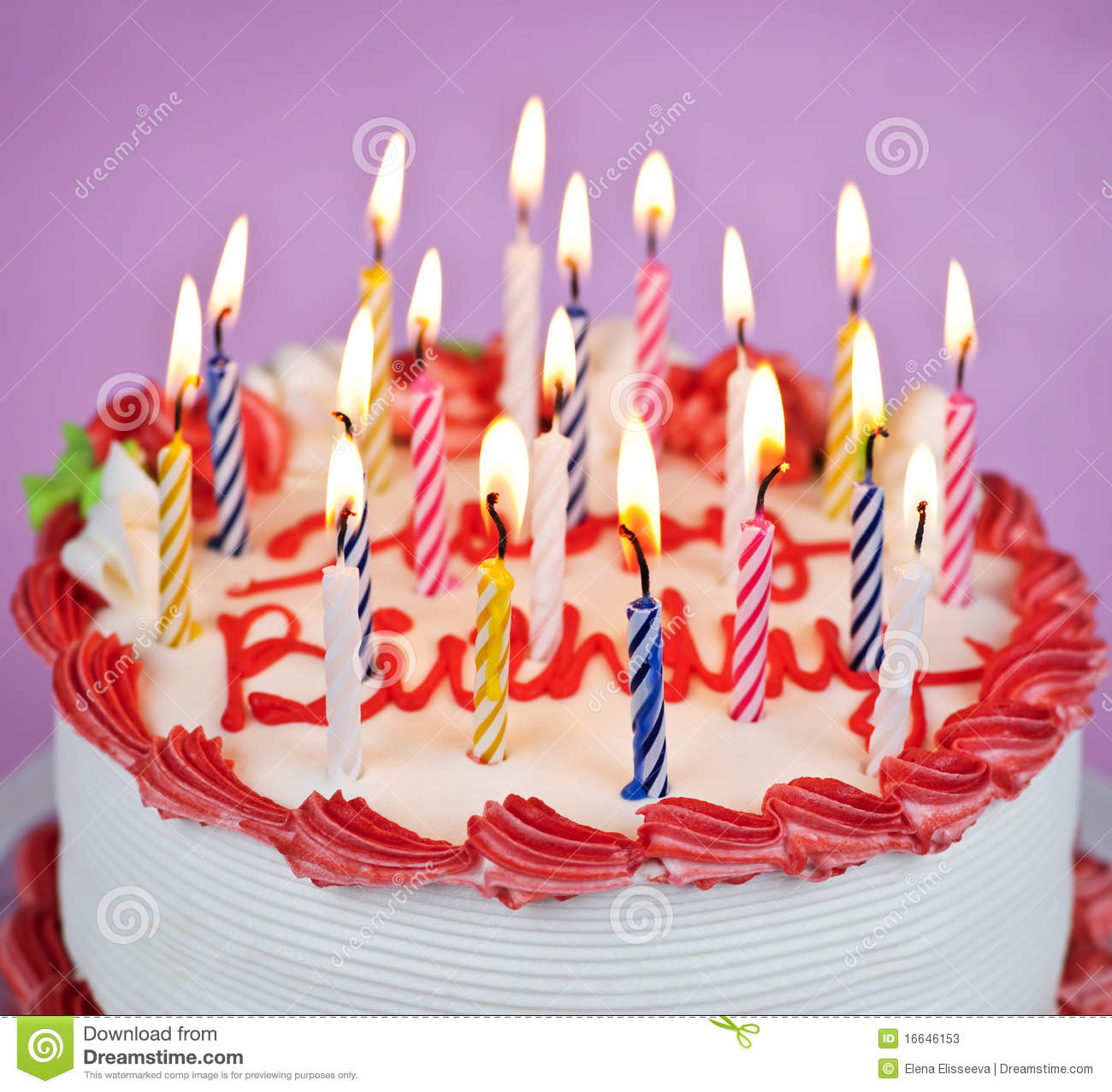 Birthday Cake With Lit Candles Images : Birthday Cake With Lit Candles Stock Photos - Image: 16646153