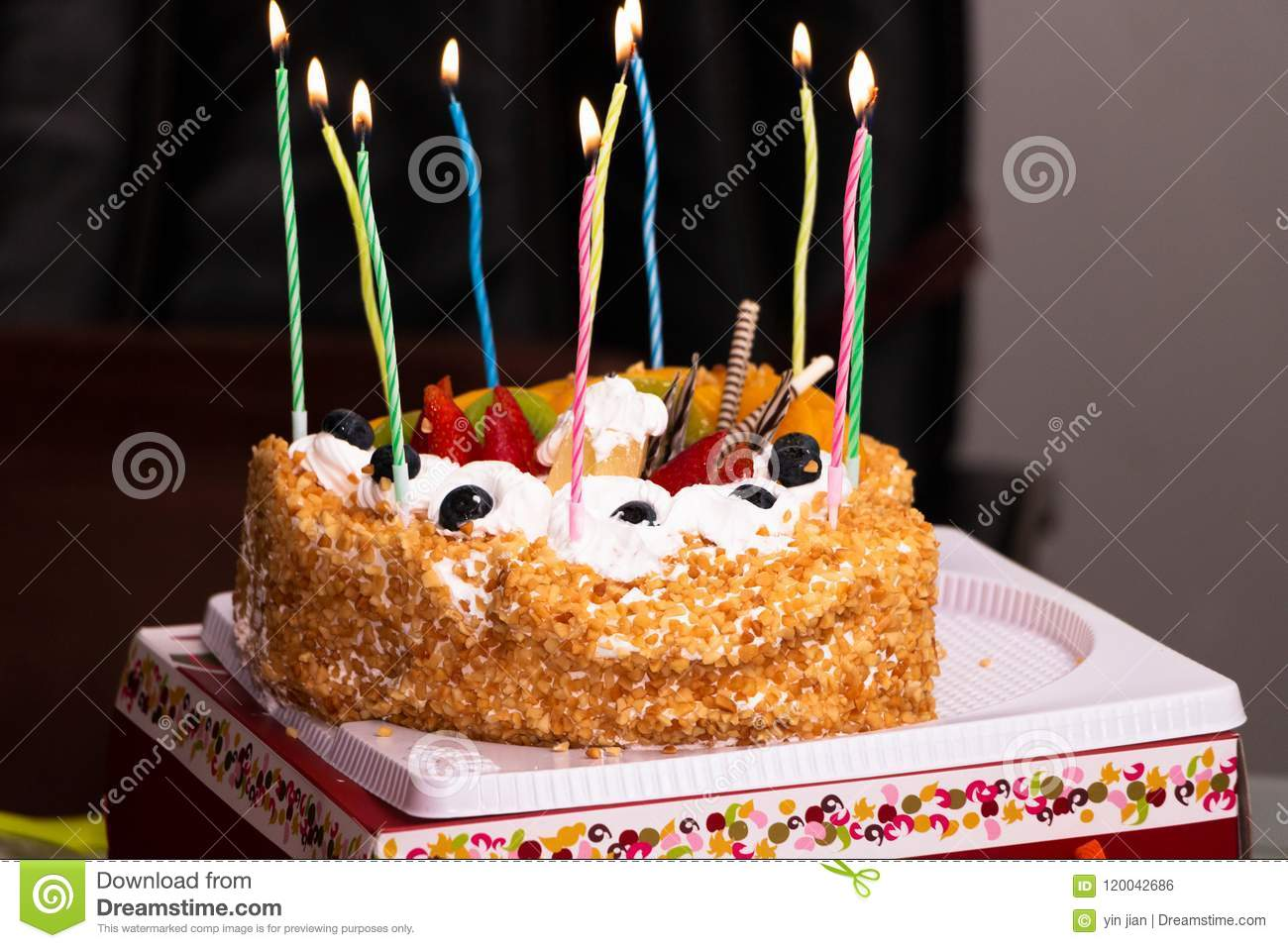 Outstanding A Birthday Cake Burnig With Candles Stock Photo Image Of Light Funny Birthday Cards Online Overcheapnameinfo