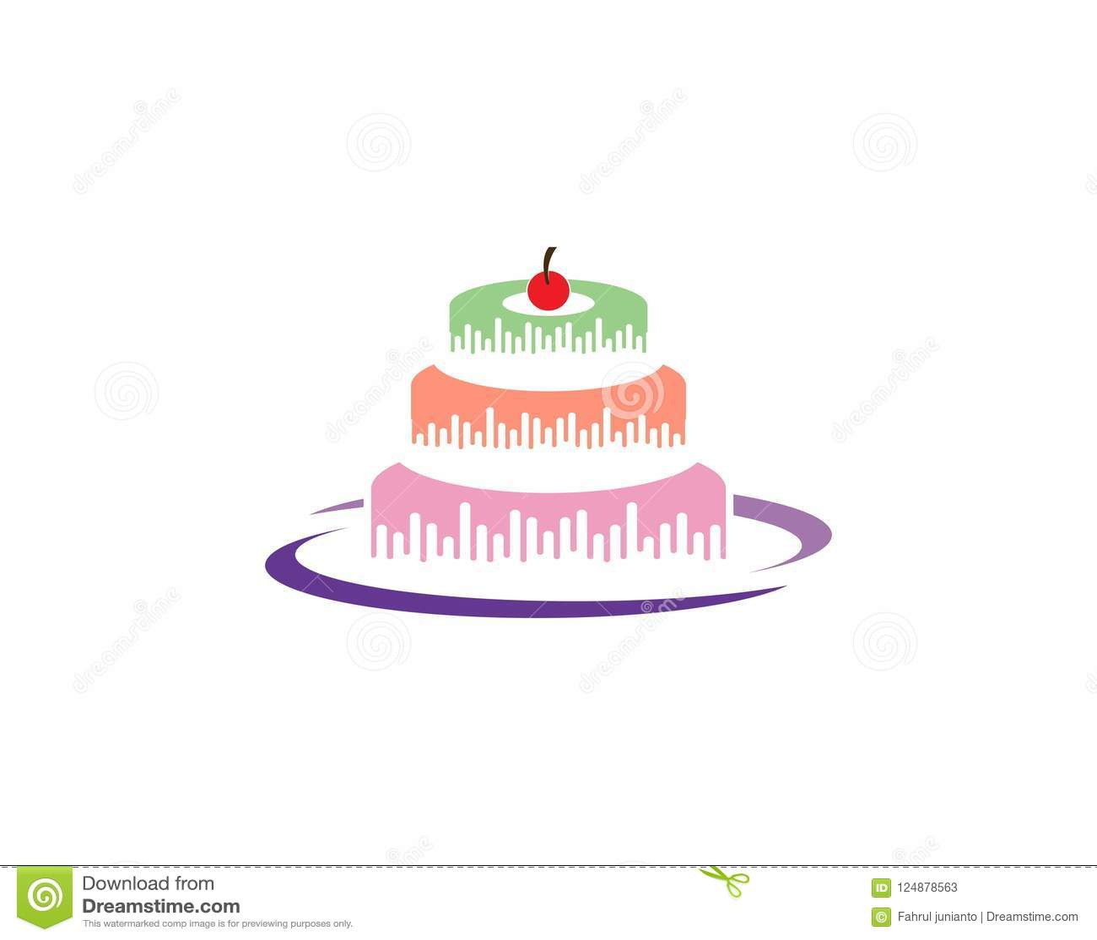 Birthday Cake Logo Vector Template Stock Vector Illustration Of