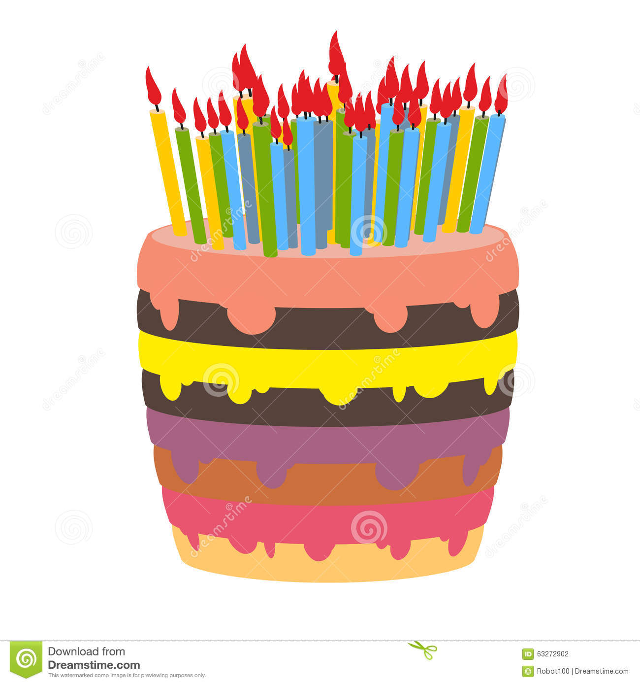 Image Birthday Cake With Lots Of Candles : Birthday Cake And Lots Of Candles. Stock Vector - Image ...