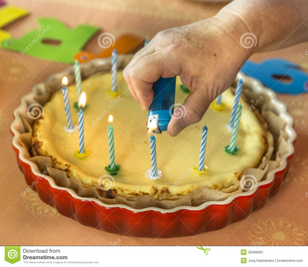 Birthday Cake With Lots Of Candles Stock Photo