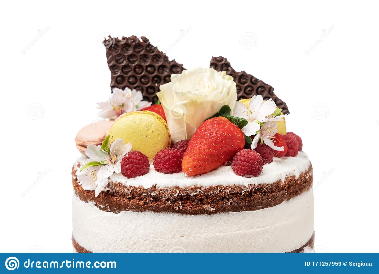 Tremendous Birthday Cake Made From Fruits And Almond Flowers Stock Image Funny Birthday Cards Online Alyptdamsfinfo