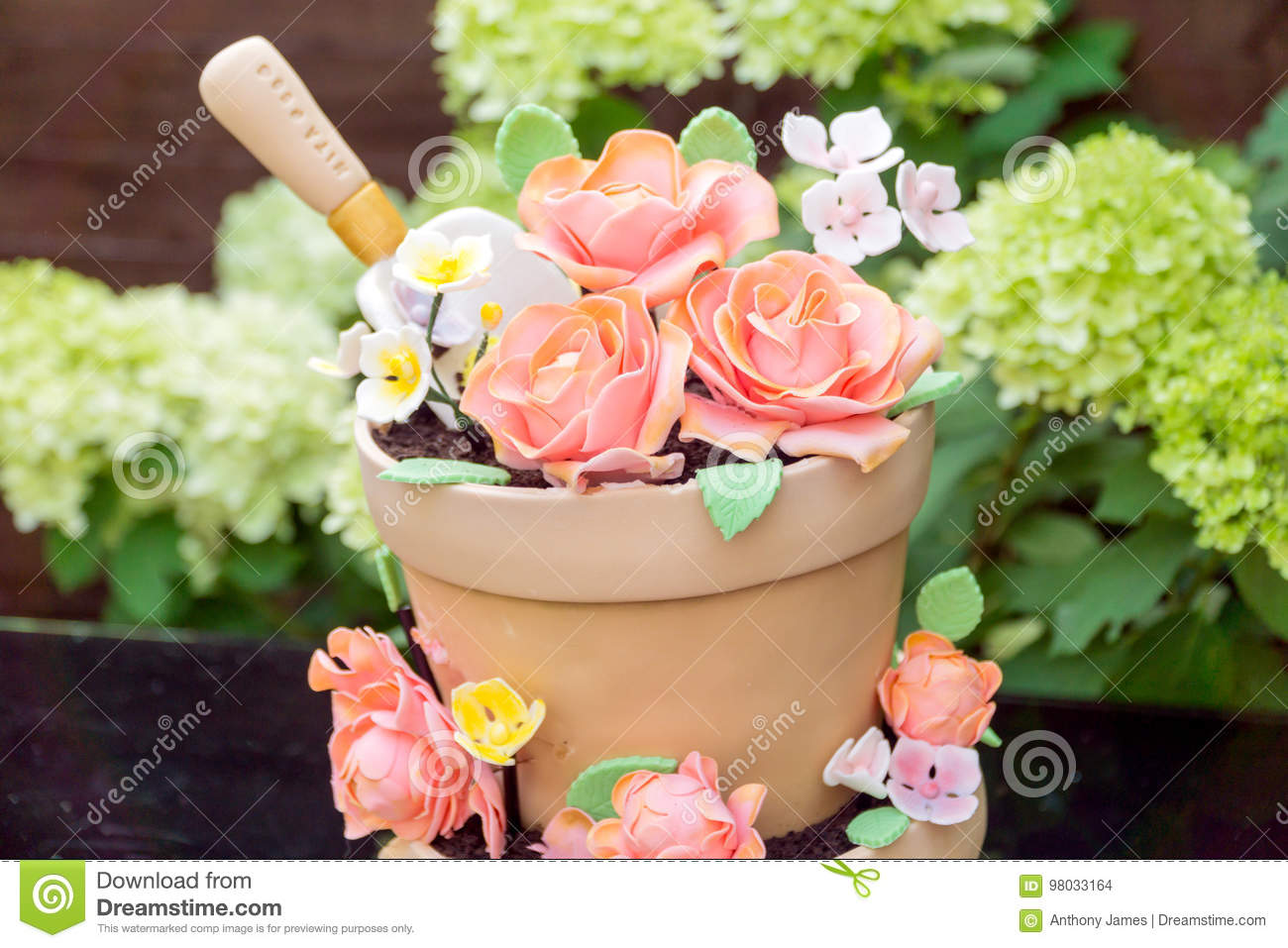 Admirable Birthday Cake Made To Look Like Flower Pots Stock Photo Image Of Funny Birthday Cards Online Alyptdamsfinfo
