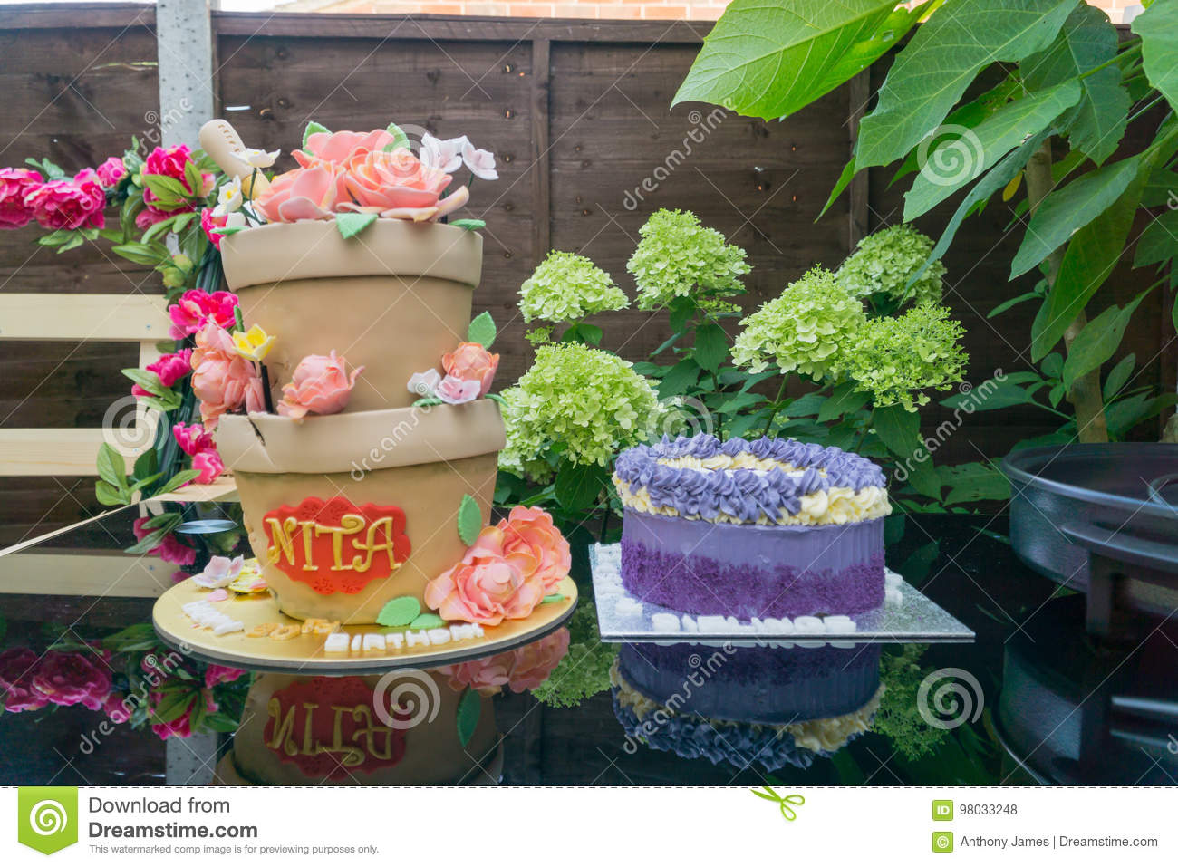 Birthday Cake Made To Look Like Flower Pots