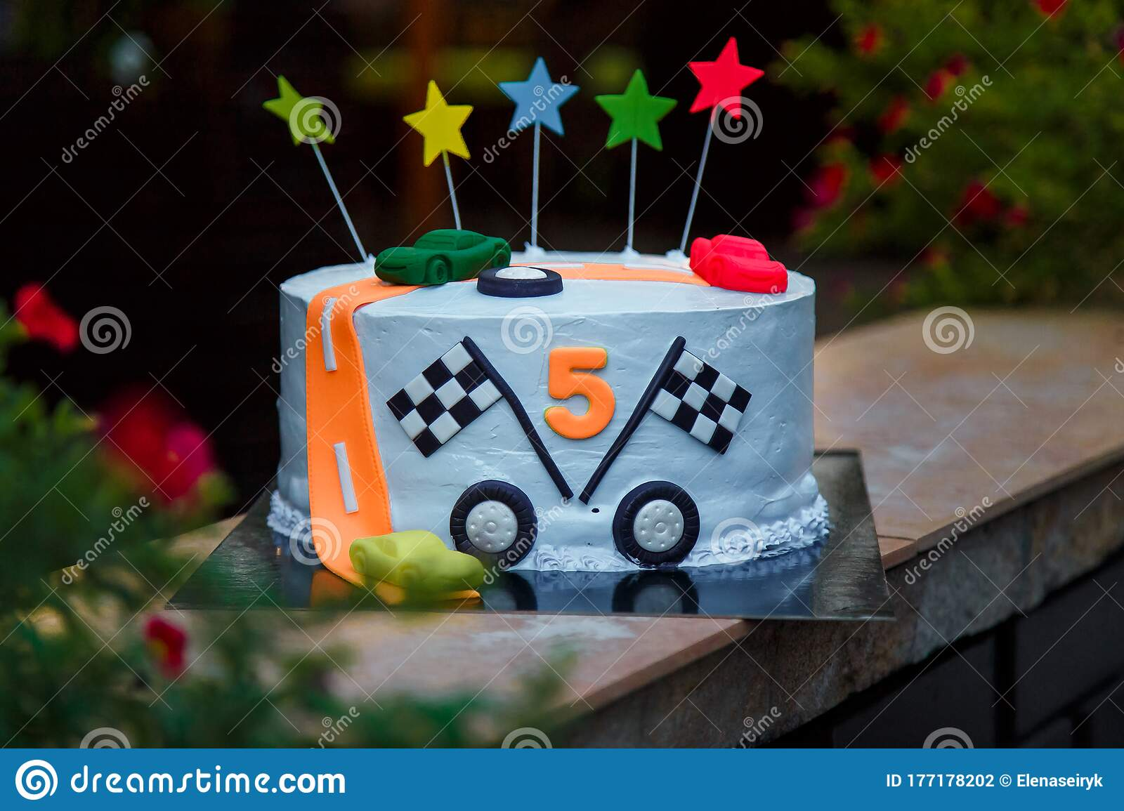 Marvelous Birthday Cake With Mastic Stars And Cars Figures For Boy Five Funny Birthday Cards Online Sheoxdamsfinfo