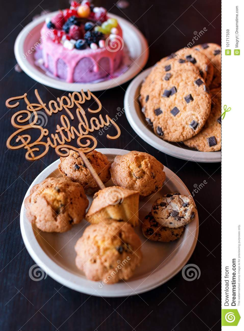 Birthday Cake And Muffins With Wooden Greeting Sign On Rustic Background Sing Letters