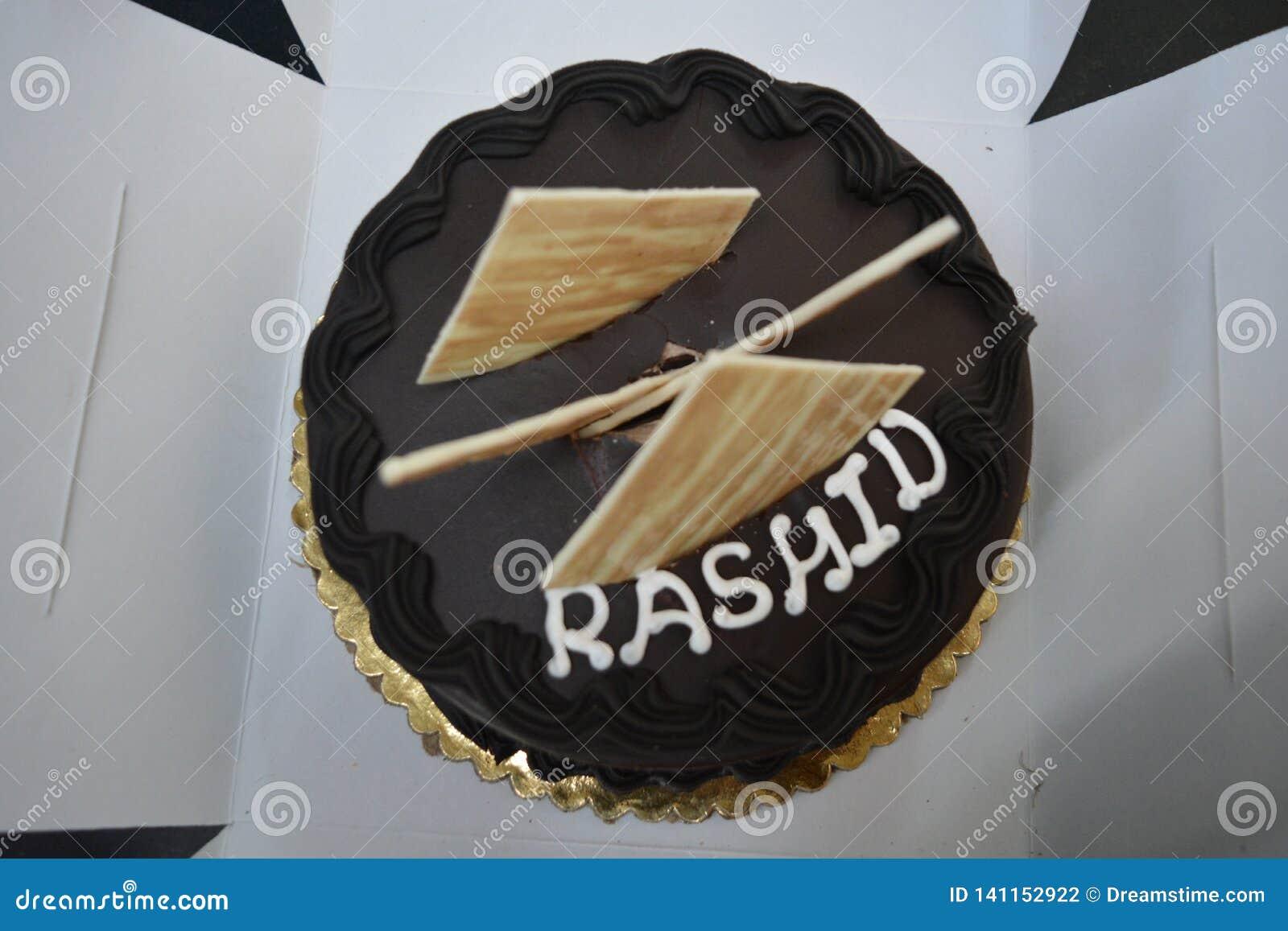 Birthday cake with name Rashid