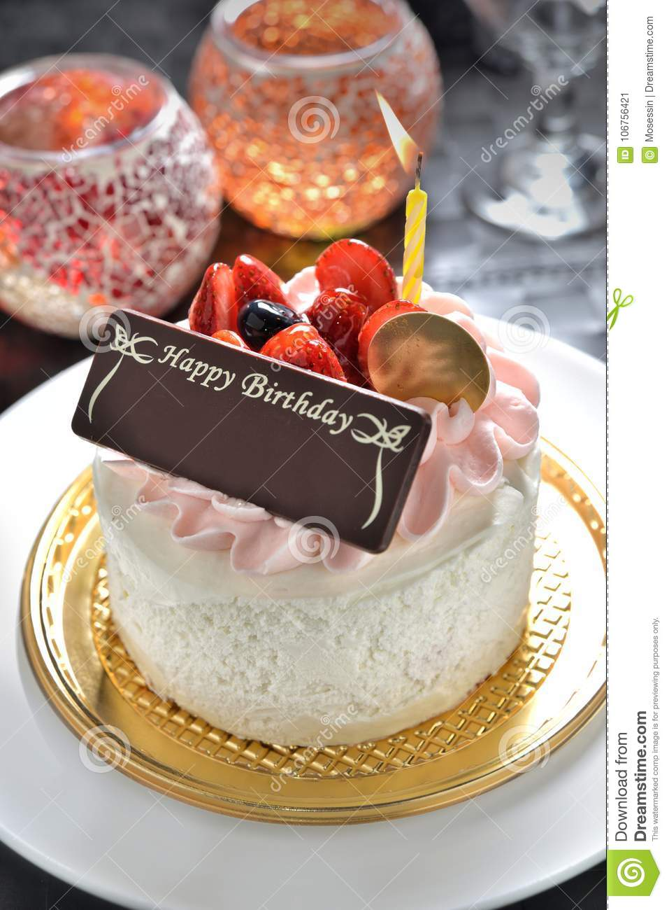 Astonishing Birthday Cake With Name Tag Stock Image Image Of Sponge Light Funny Birthday Cards Online Aeocydamsfinfo