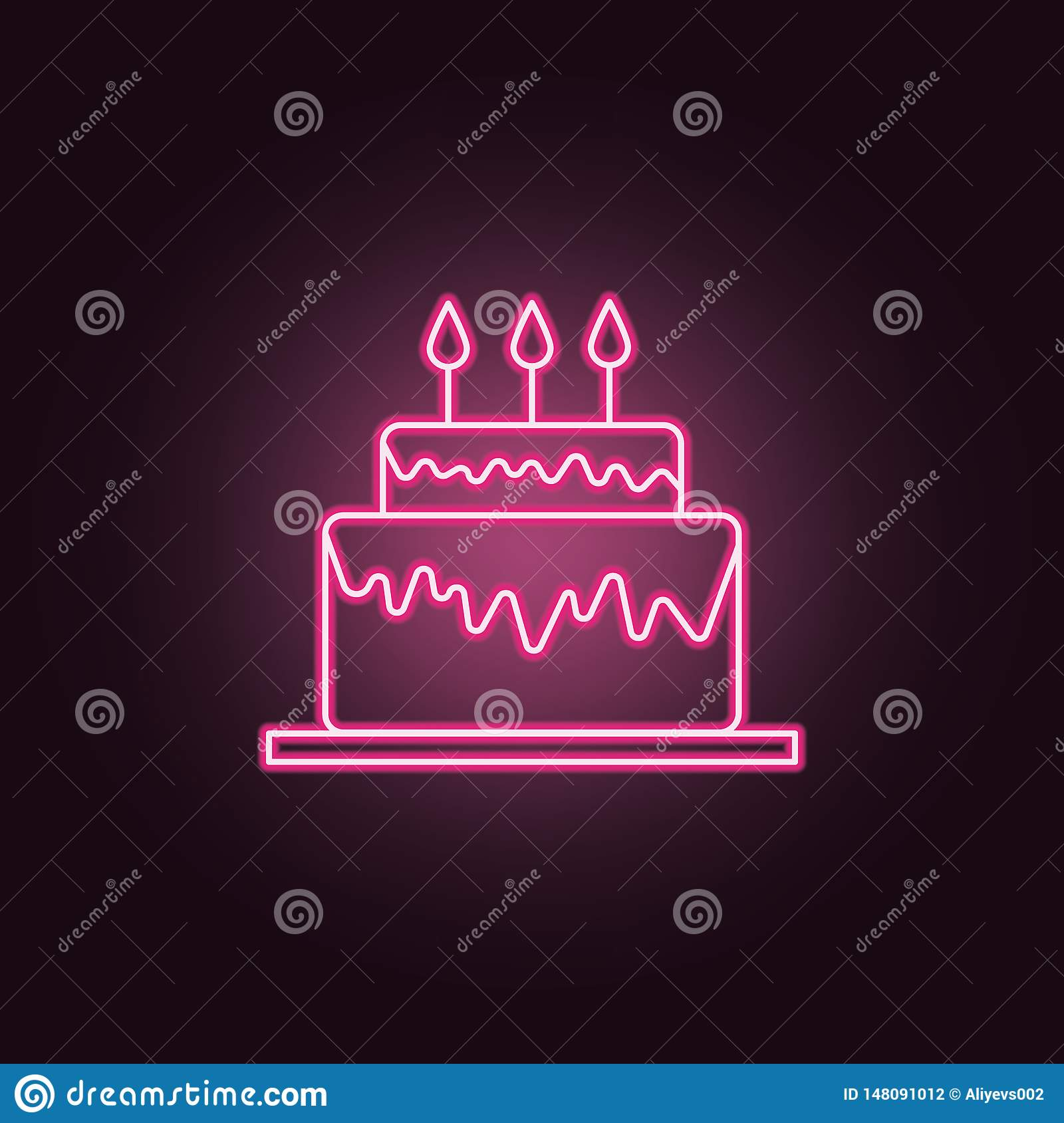 Sensational Birthday Cake Neon Icon Elements Of Party Set Simple Icon For Funny Birthday Cards Online Alyptdamsfinfo