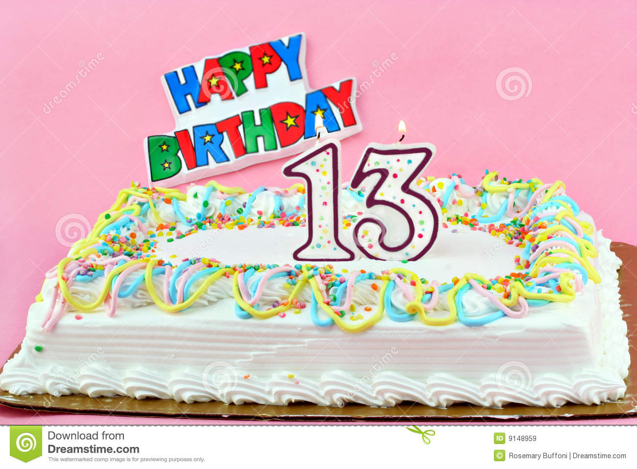 Birthday Cake With Number 13 Lit Candles Stock Image